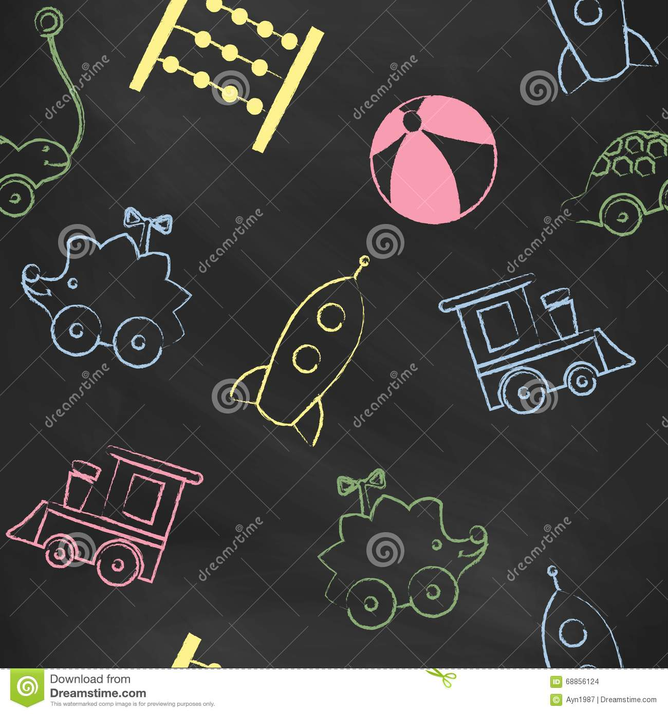 Seamless Pattern Black Chalk Board With Color Children S Drawings