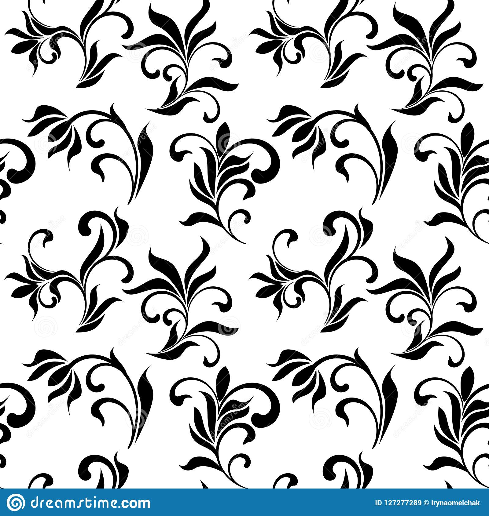 Seamless Pattern With Black Flowers On A White Background Stock