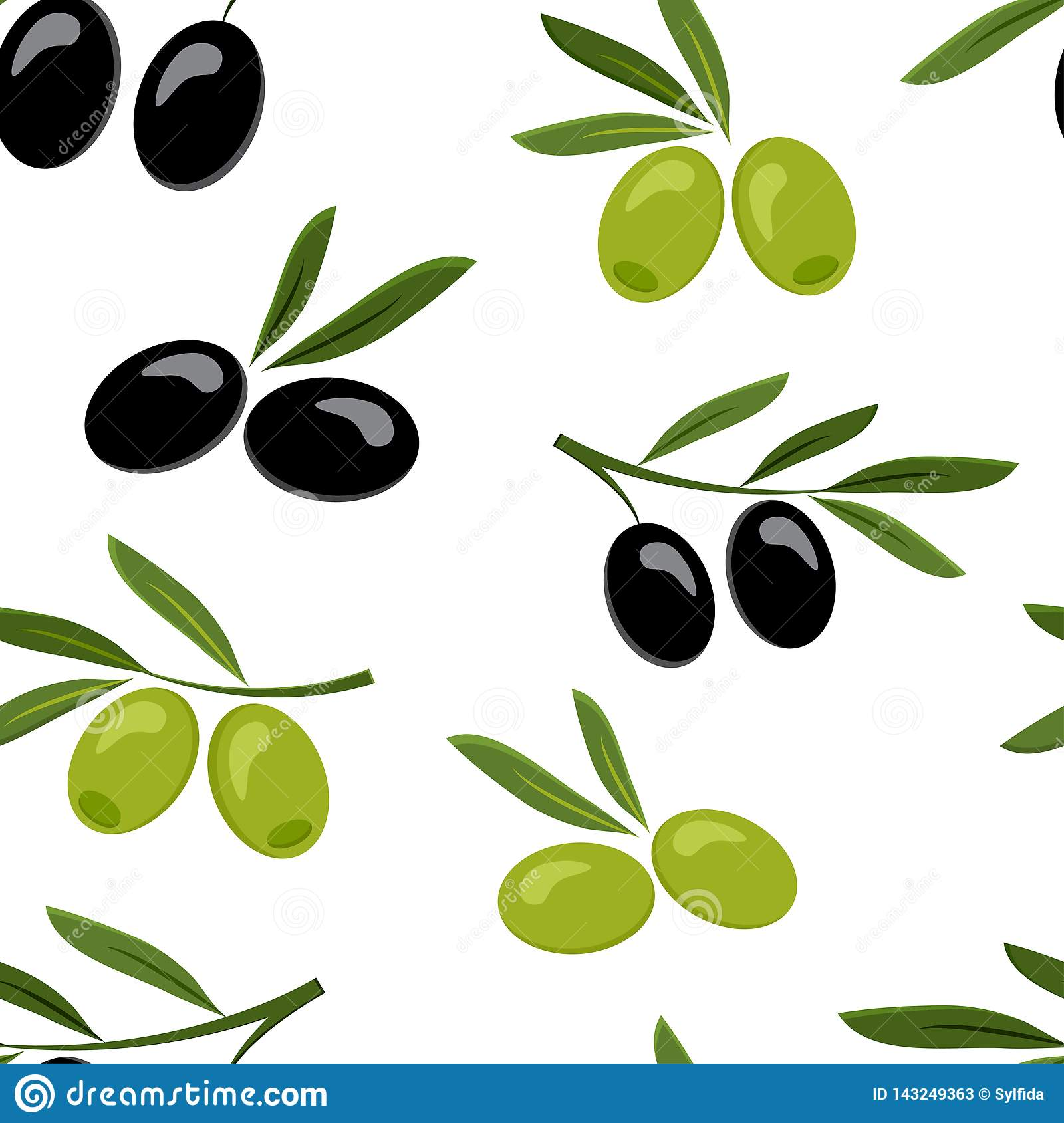 Seamless pattern with black and green olives. Vector