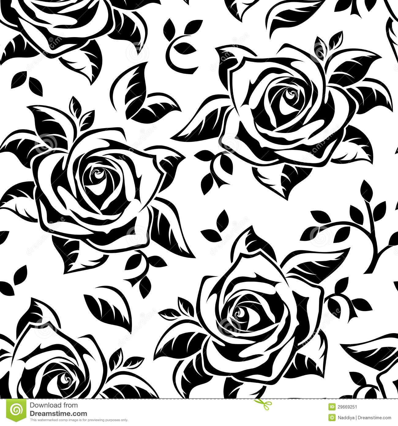 Black Flower Silhouette Pattern Royalty Free Stock Images: Vector Sseamless Pattern With Roses Silhouettes. Stock