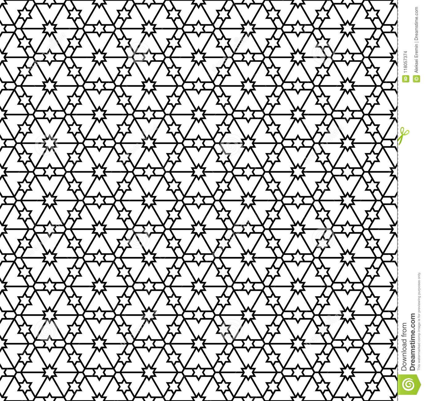 Seamless Geometric Pattern In Black And White Geometric Lines Stock