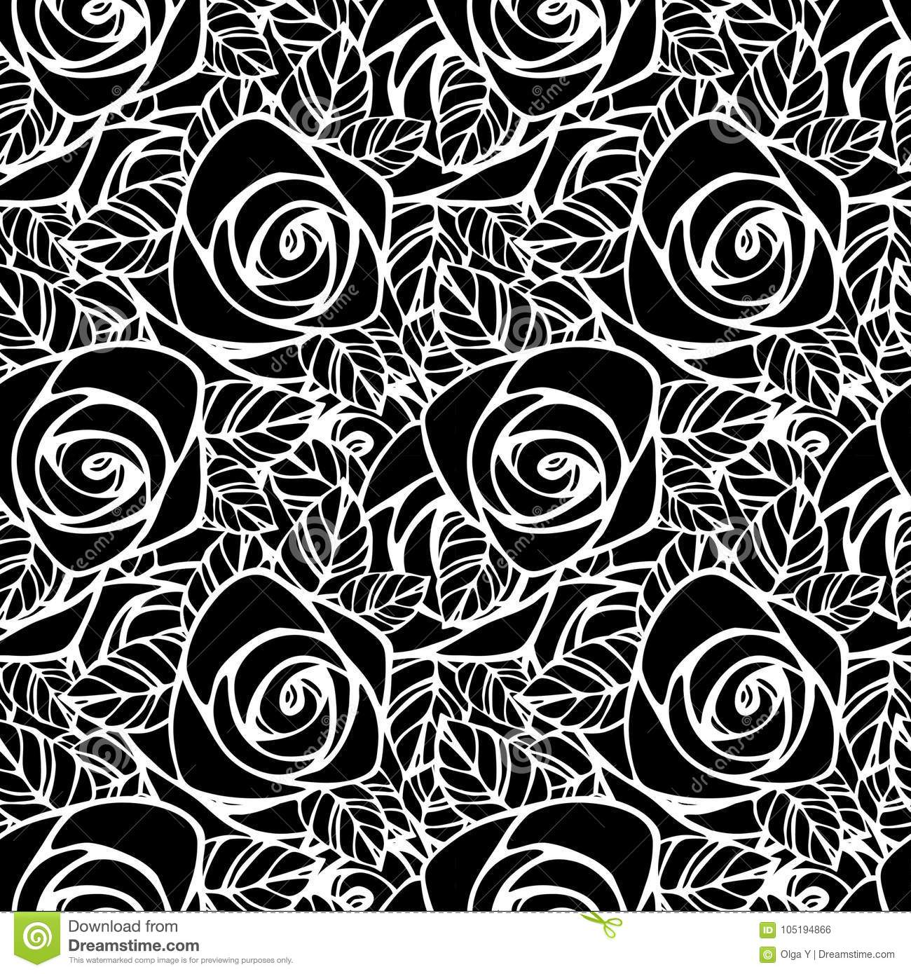 Seamless Pattern With Black And White Rose Silhouette Floral