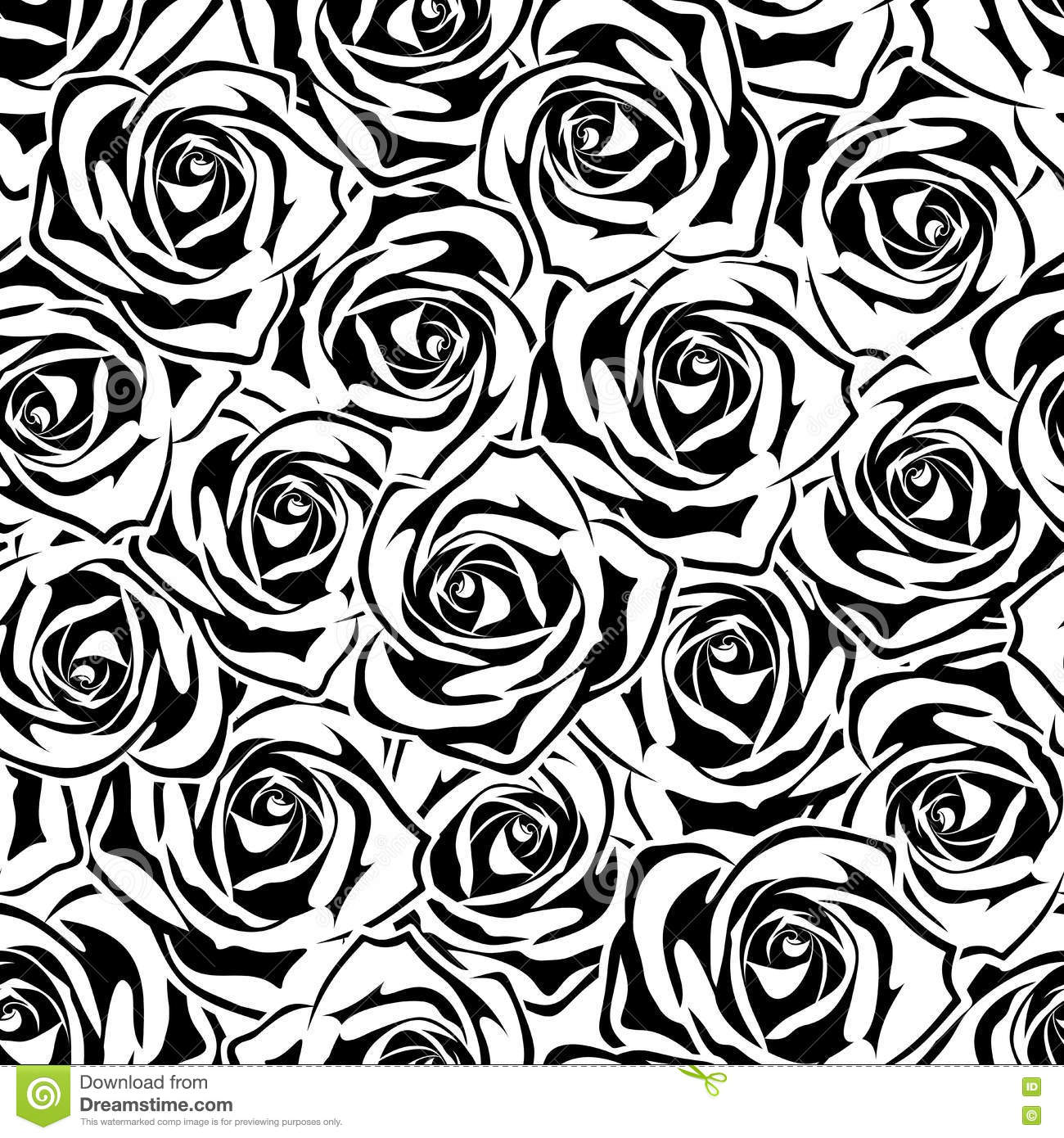 Seamless Pattern With Black And White Roses Vector Illustration