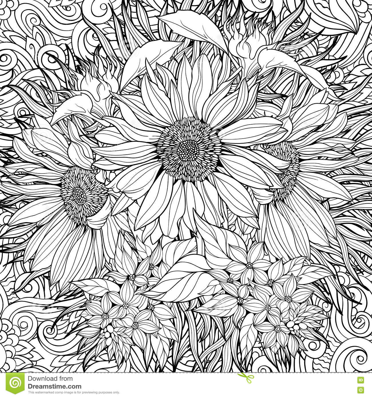 Seamless Pattern Of Black And White Sunflowers Stock Vector