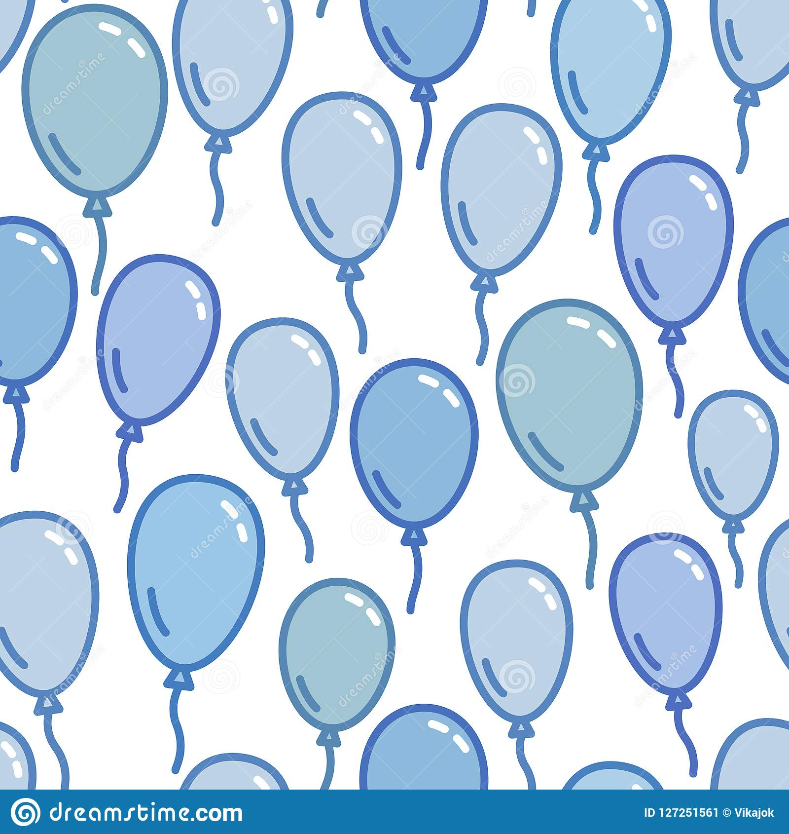 Seamless Pattern With Blue Balloons Naive And Simple