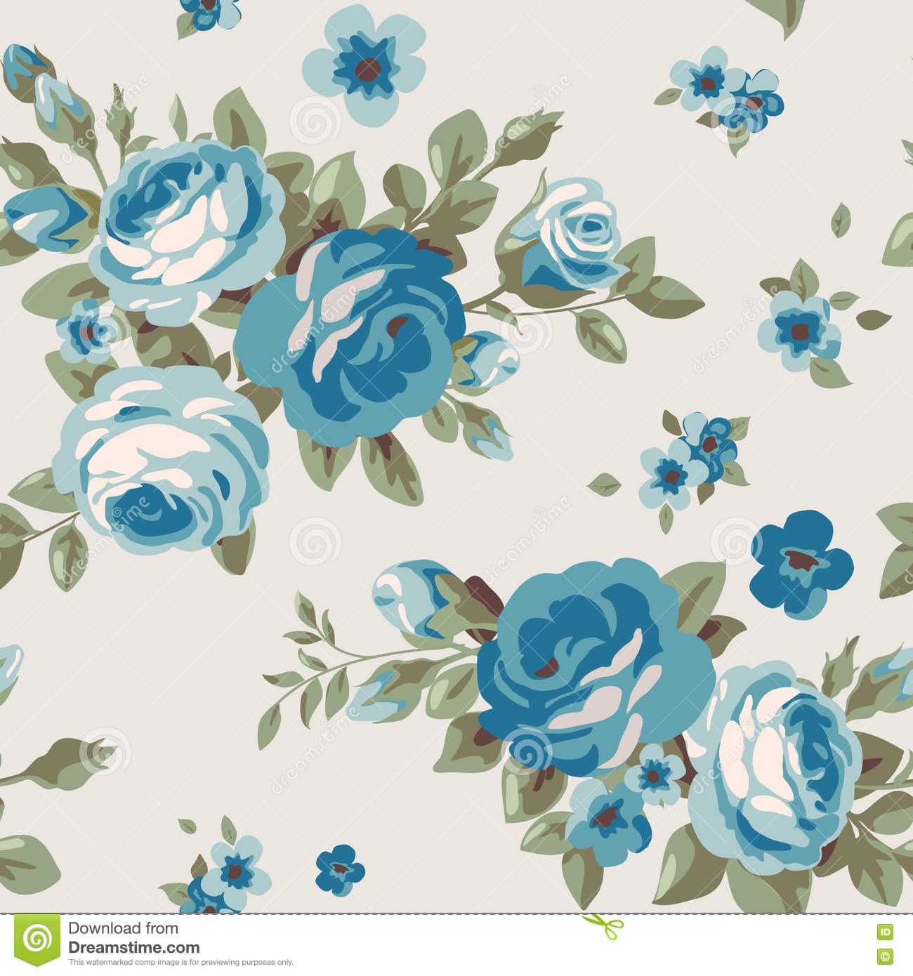 Seamless Pattern With Blue Flowers. Vintage Floral ...