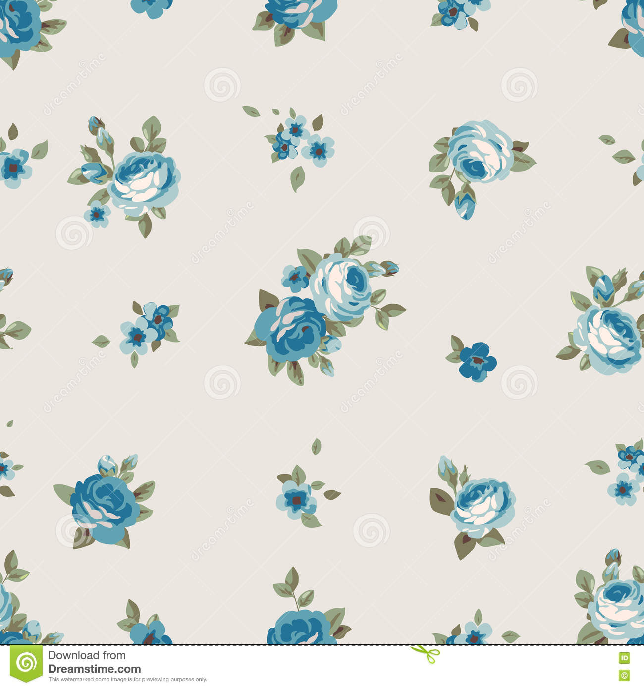 Seamless Pattern With Blue Flowers Vintage Floral Wallpaper With