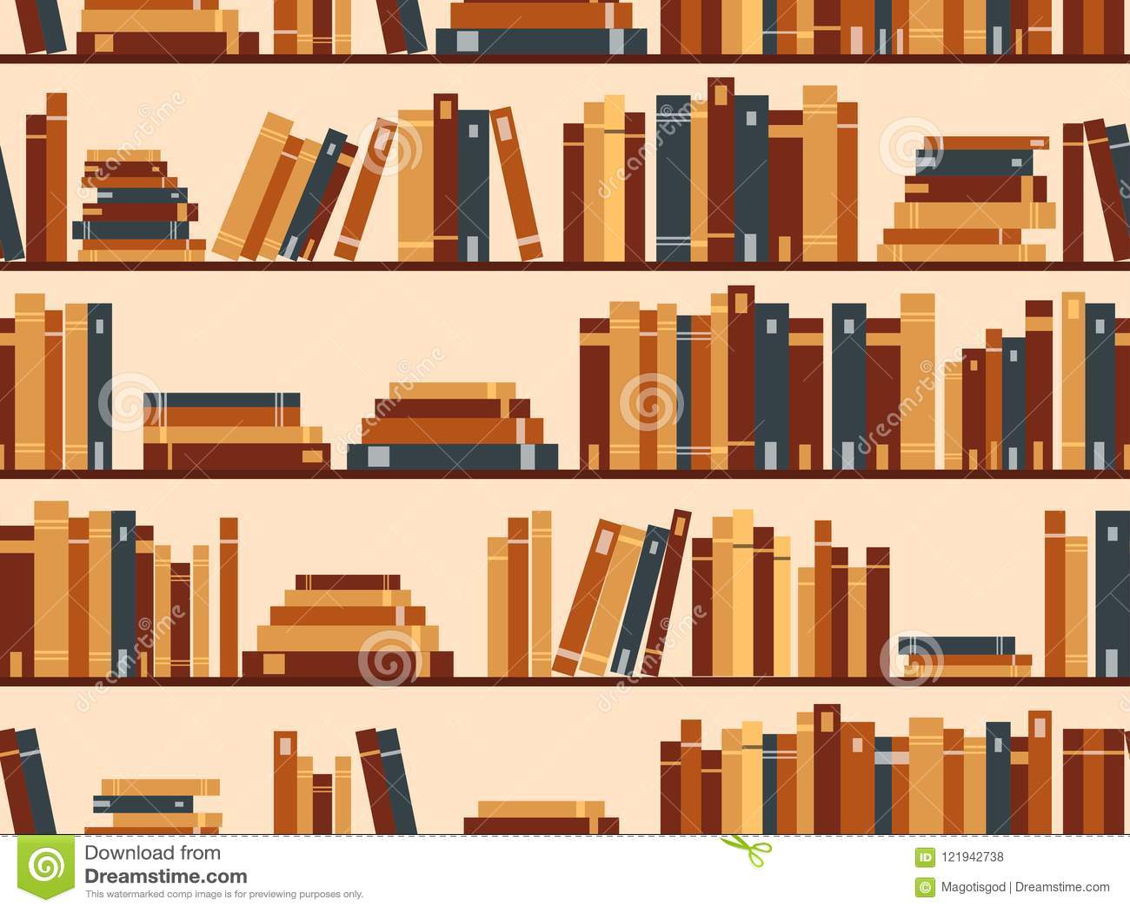 Seamless pattern with books, library bookshelf. Vector illustrat