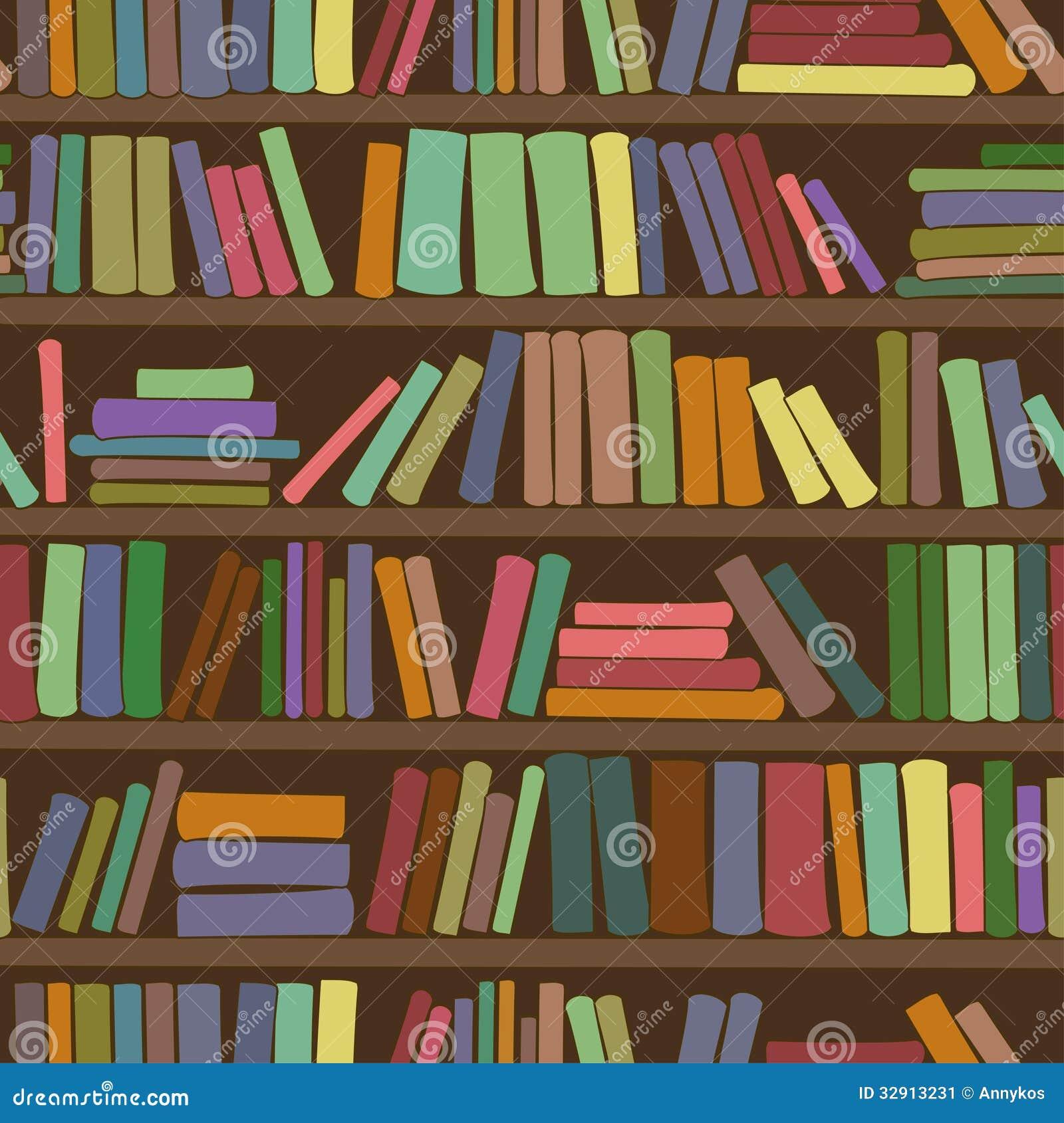 Seamless Pattern Of Bookshelf With Books Stock Vector ...