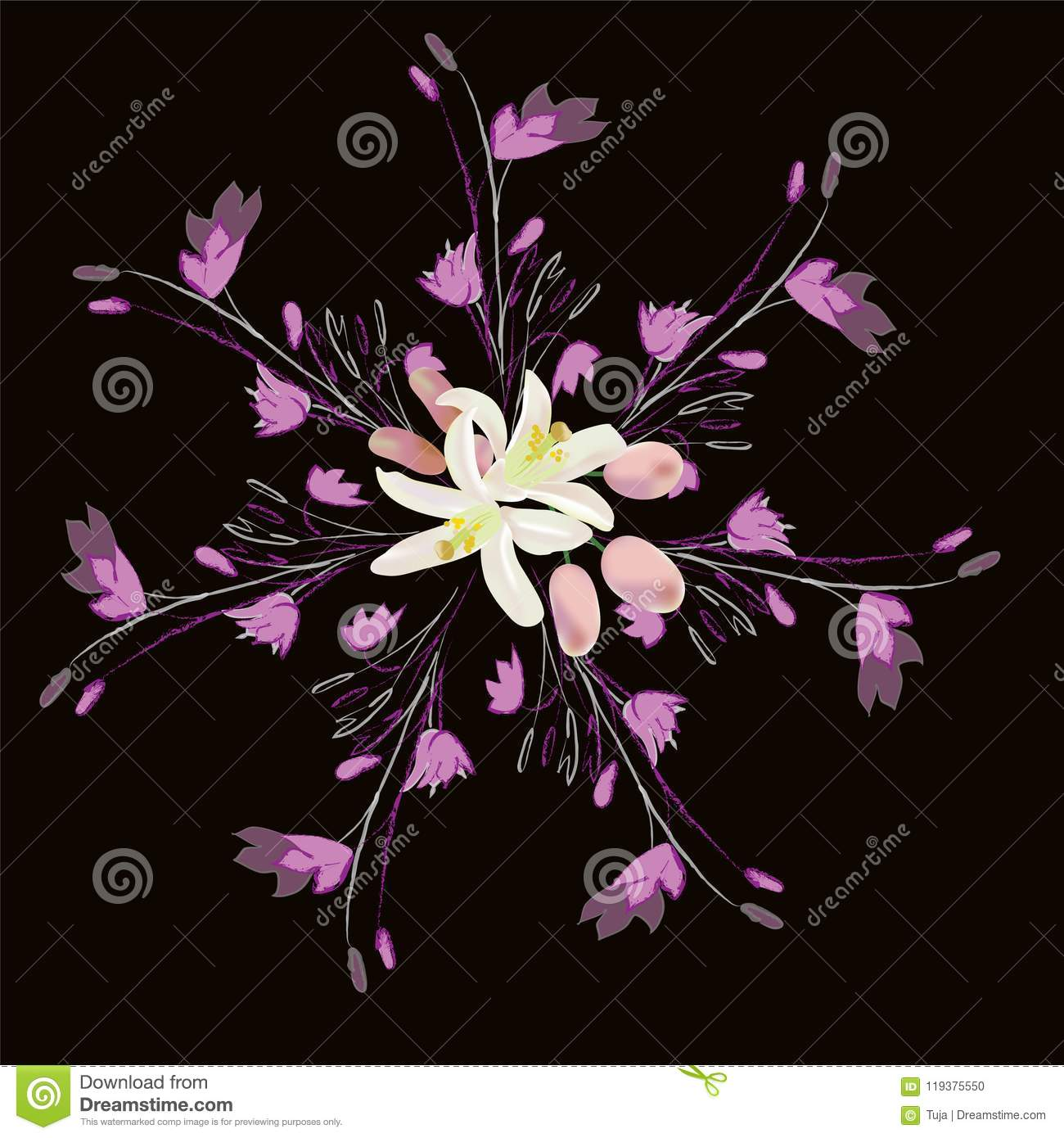 Seamless Pattern With Bouquet Of Abstract Lilies Flowers On Black