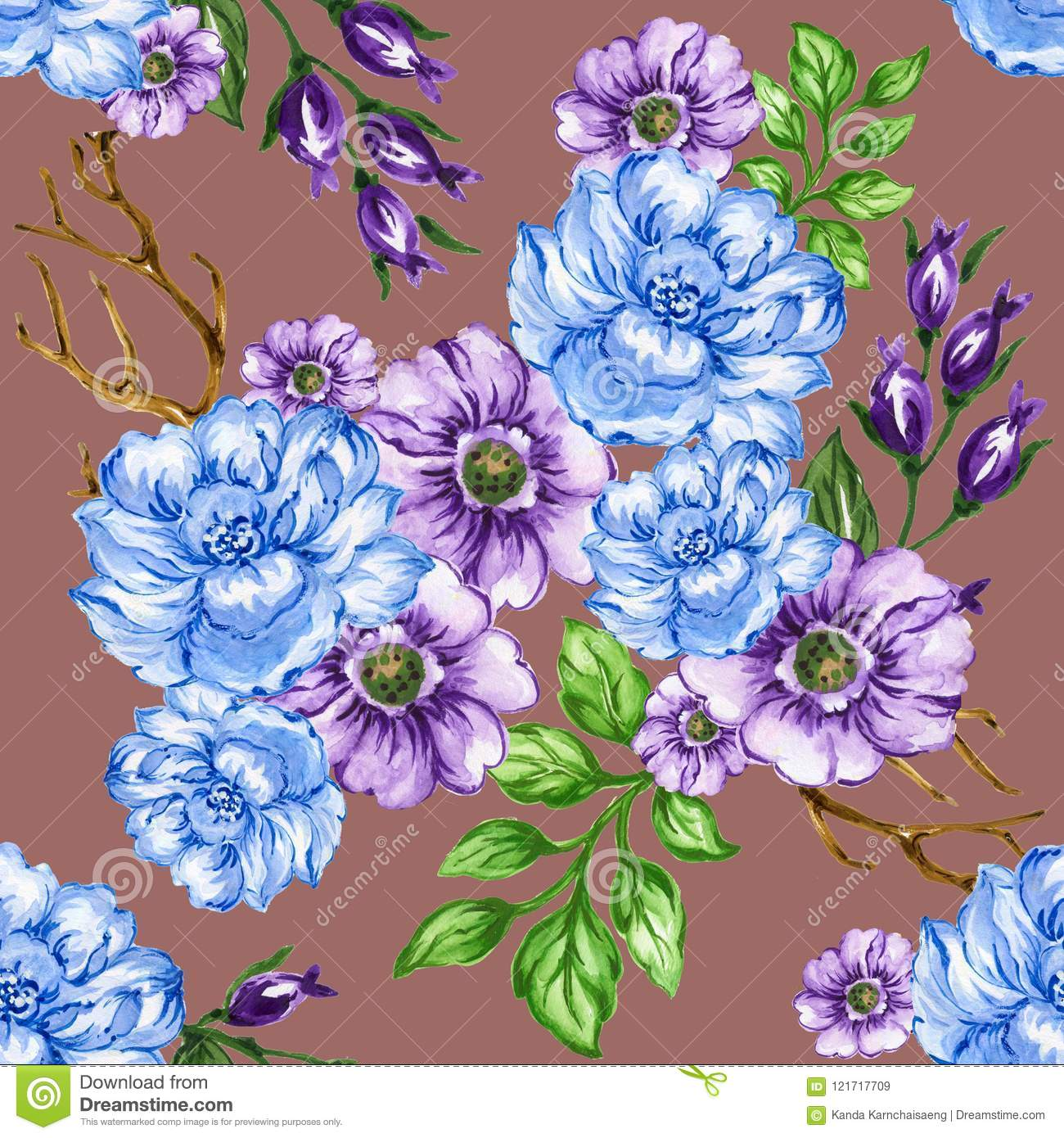 Seamless Pattern Bouquet Rose Blue Purple Flowers And Plant Stock
