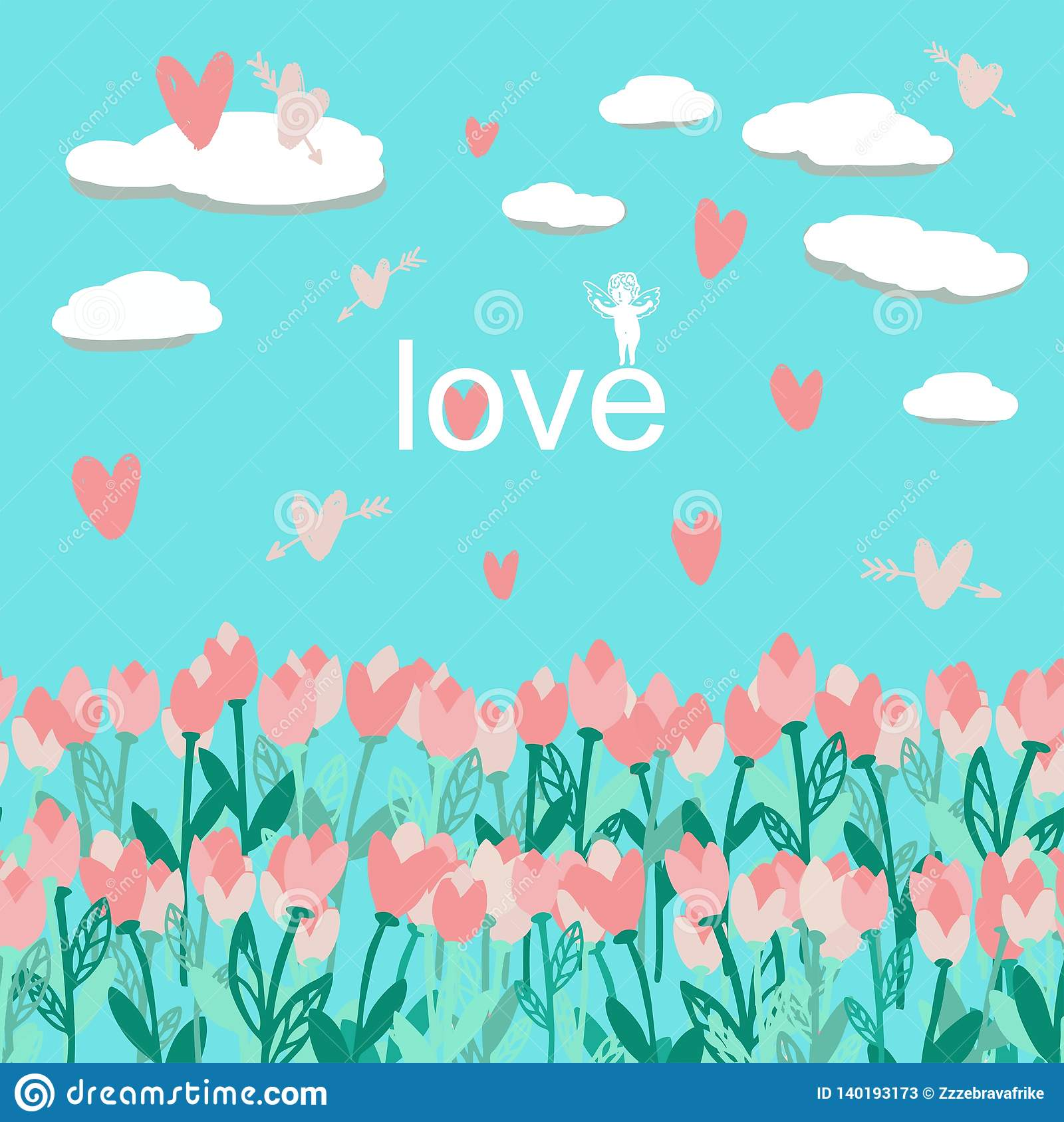 Seamless pattern with bouquet tulips with clouds and hearts