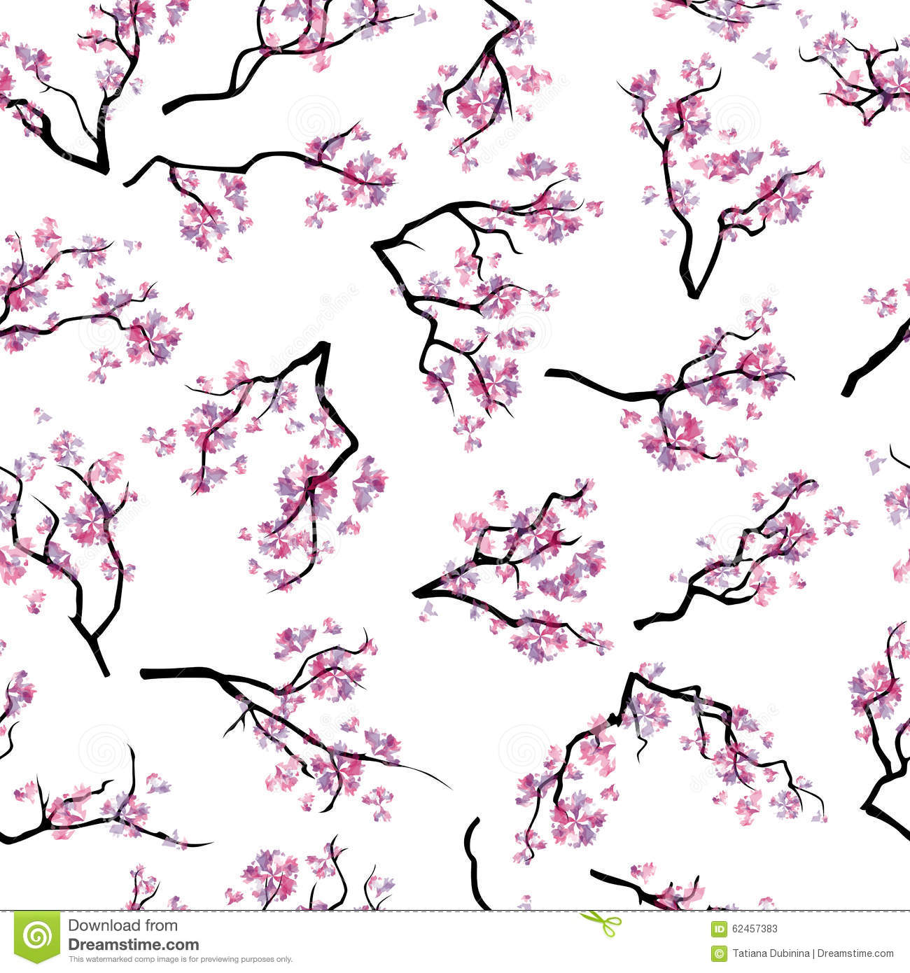 Seamless pattern with branches of blooming cherry-tree