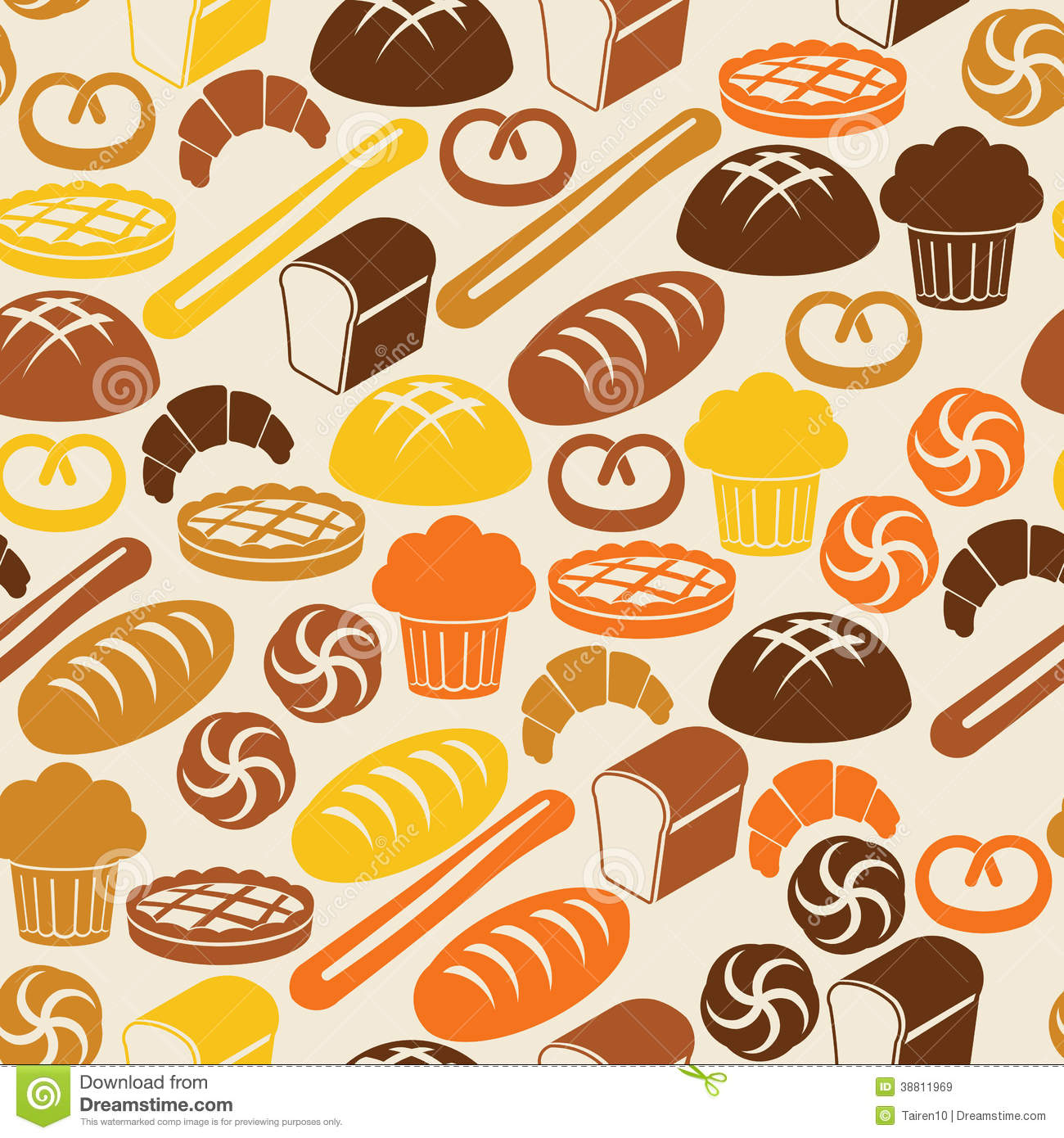 Seamless Pattern With Bread And Pastry Stock Vector