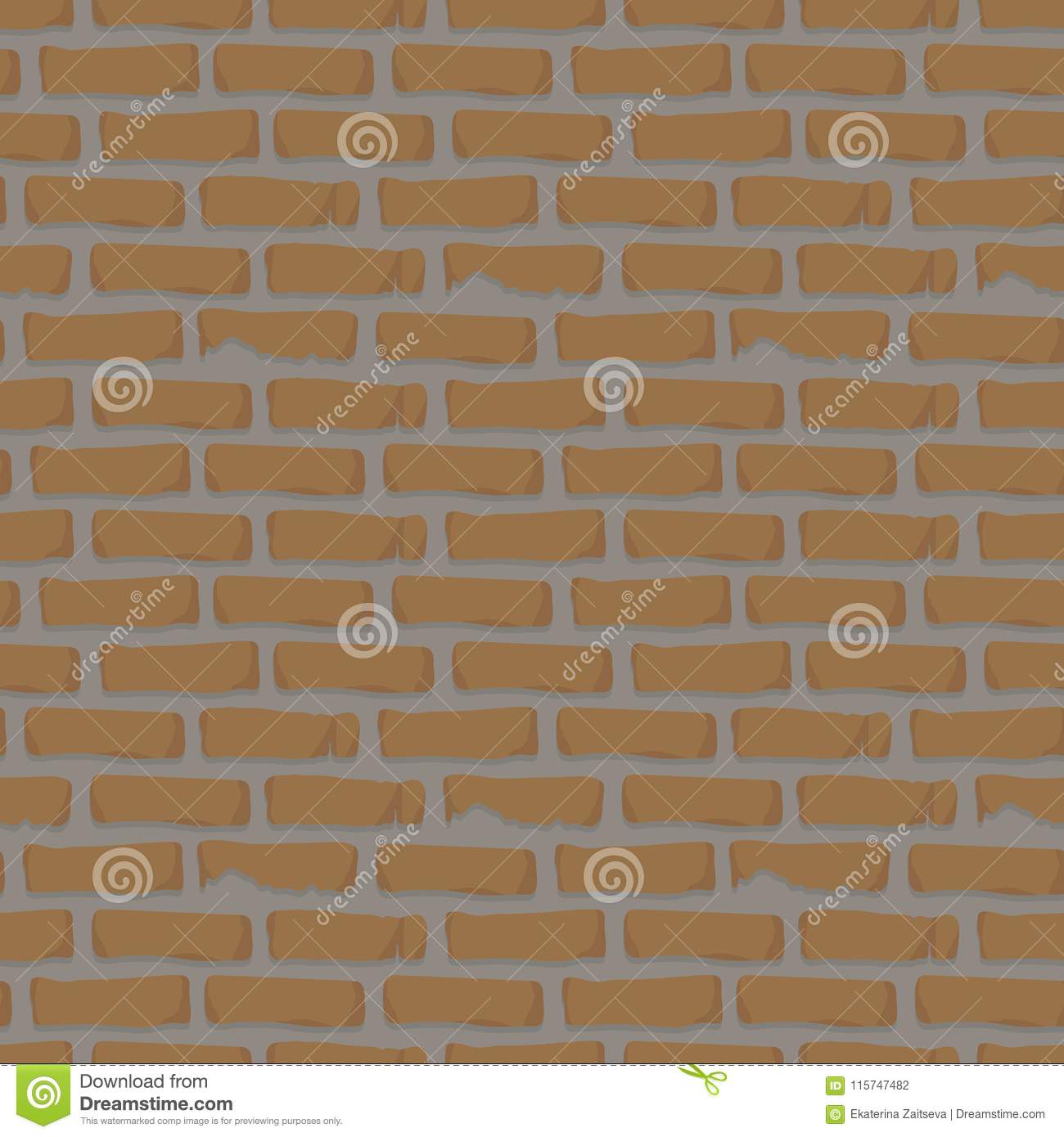 Seamless Pattern Brick Wall Orange With Cement Construction Mortar