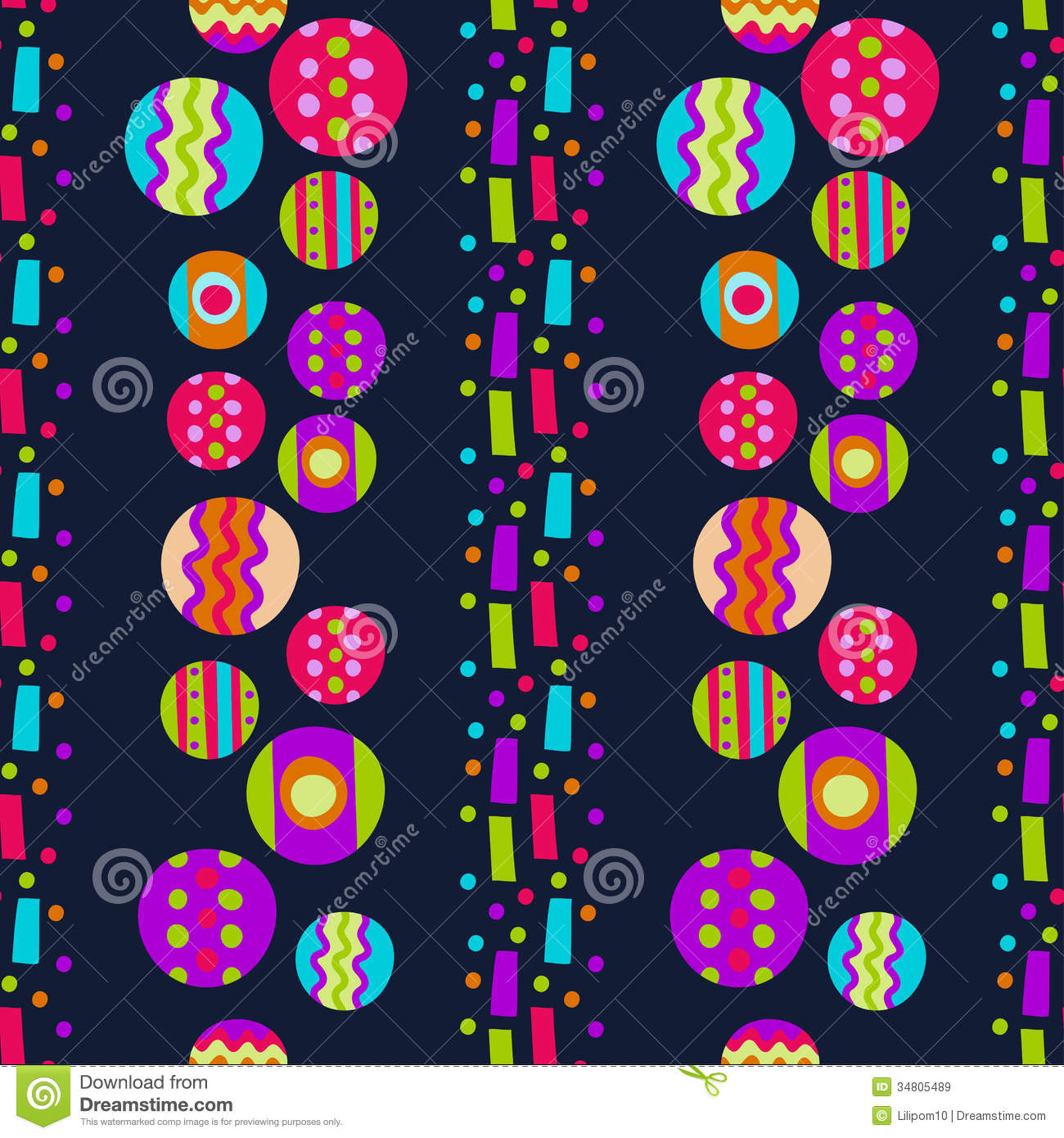 Seamless Pattern With Bright Abstract Shapes Royalty Free