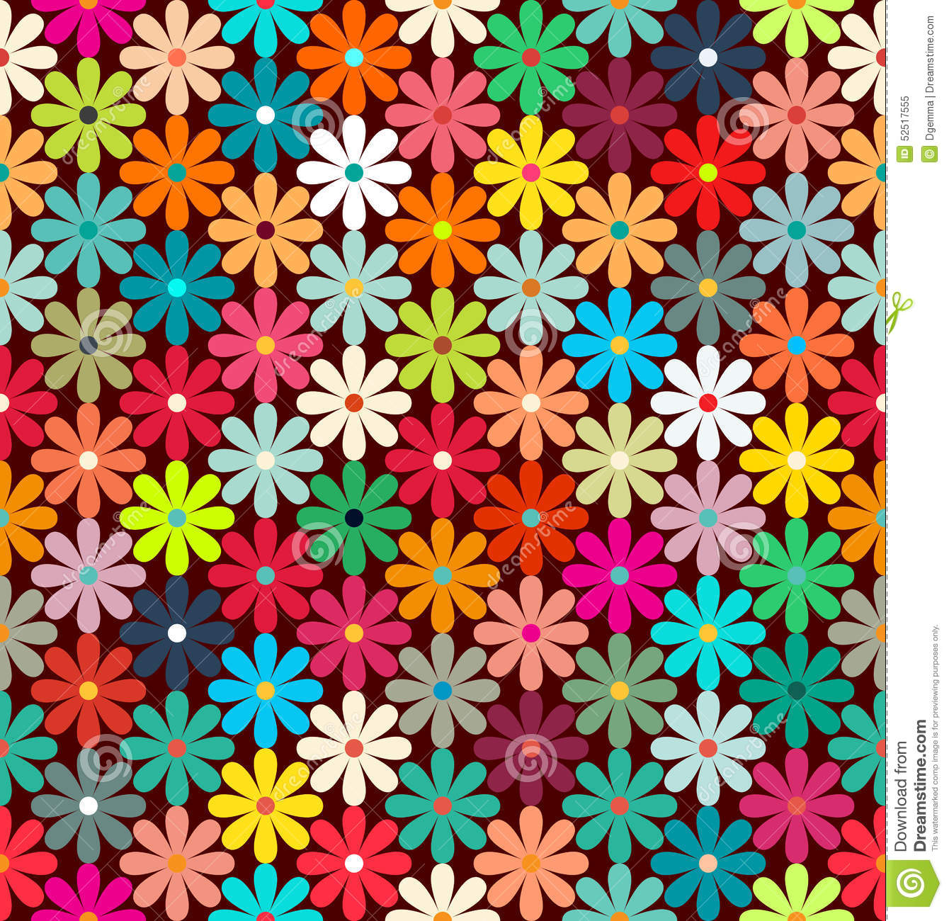Seamless Pattern Of Bright Colorful Flowers. Stock Vector ...