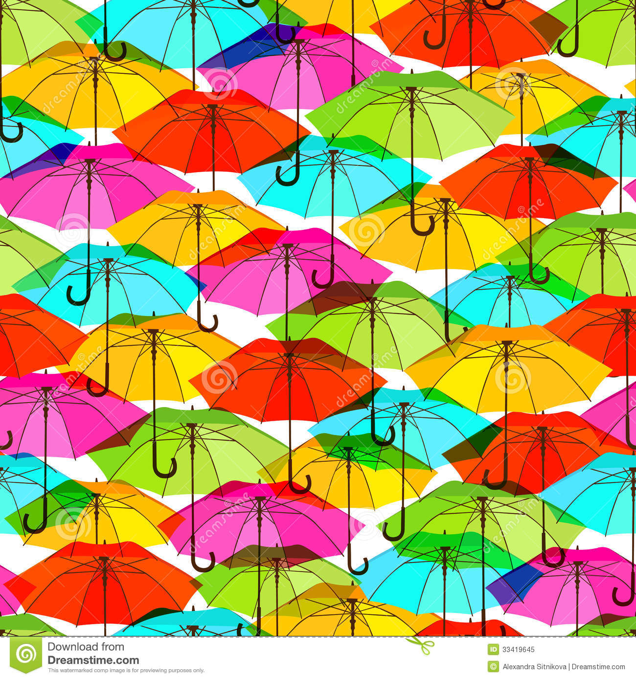 Seamless Pattern With Bright Colorful Umbrellas Stock ... Bright Colourful Patterns