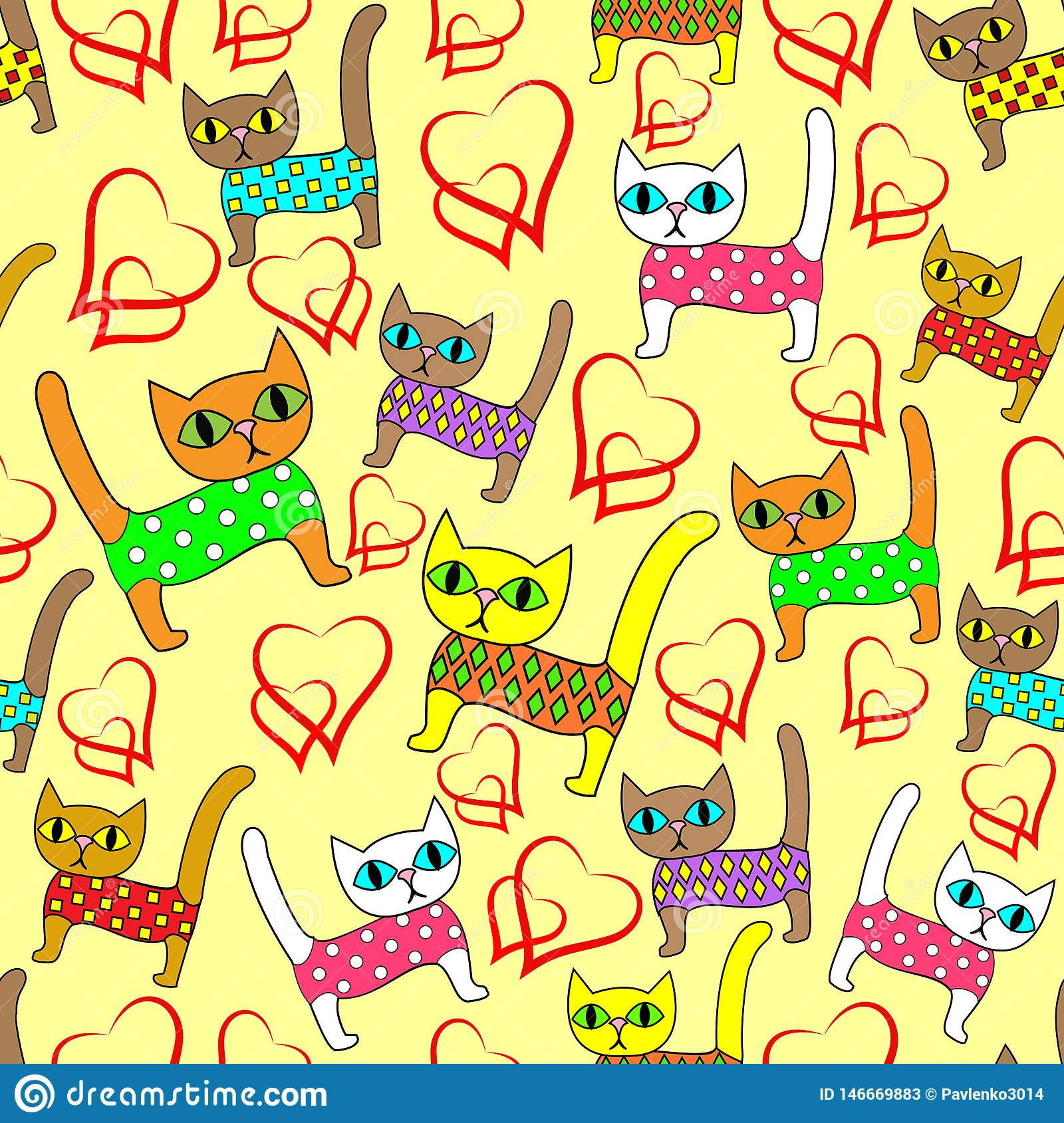 Seamless pattern. Bright cute kittens and loving hearts. Suitable as wallpaper in the children`s room, like packaging for a gift