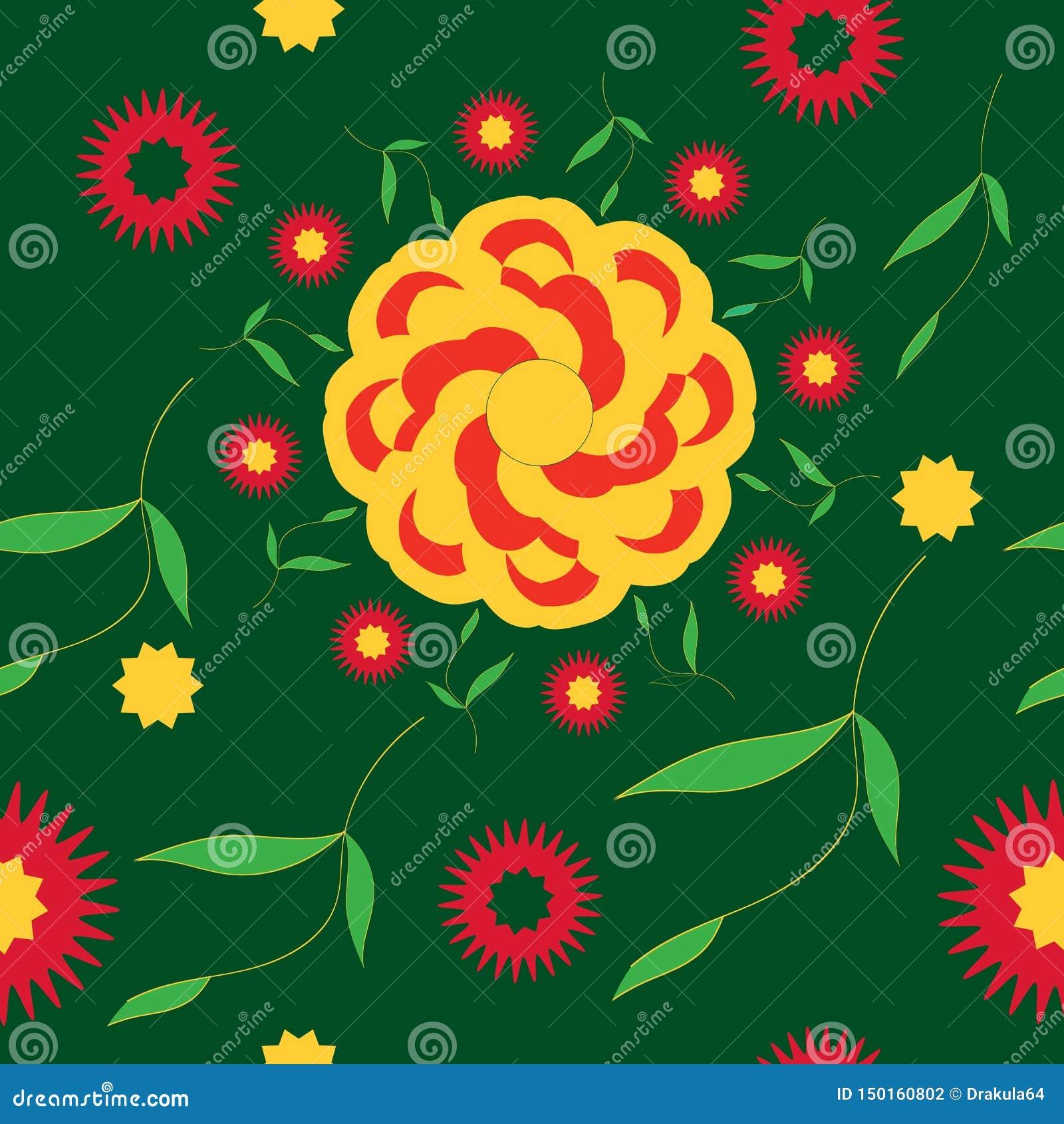 Seamless pattern bright summer flower