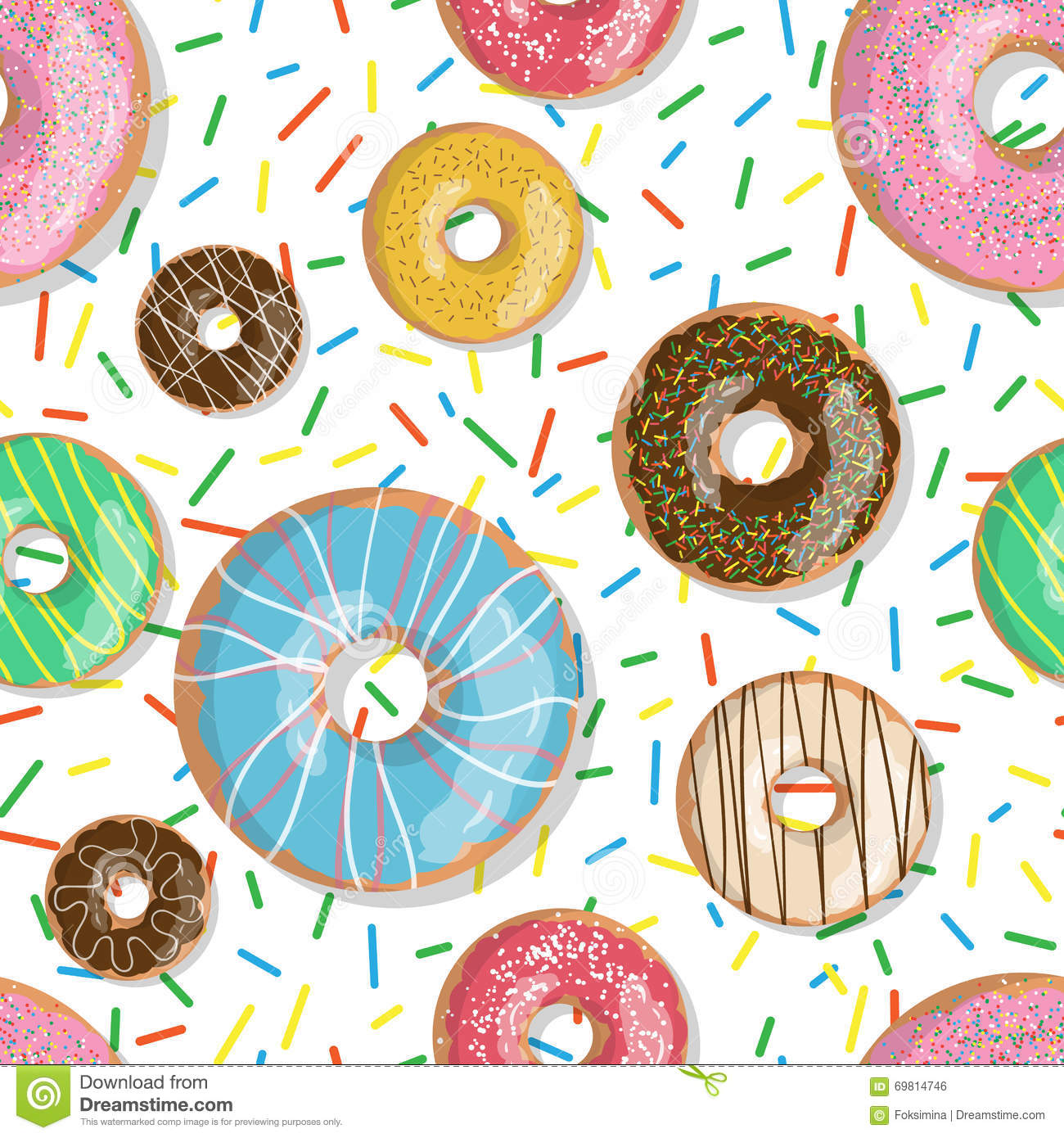 Cartoon Doughnut Factory: Seamless Pattern Bright Tasty Vector Donuts Sprinkles