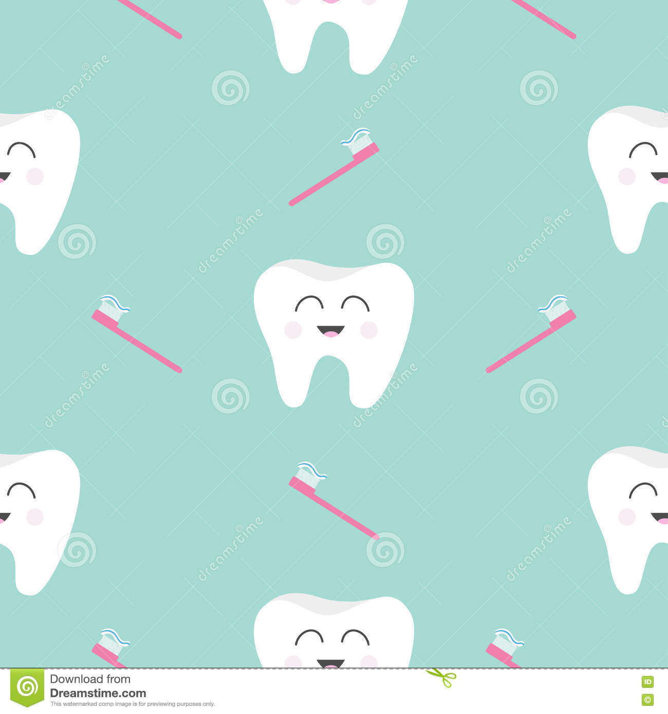 Seamless Pattern With Little Cute Tooth Fairy With Teeth ... |Cute Teeth Wallpaper