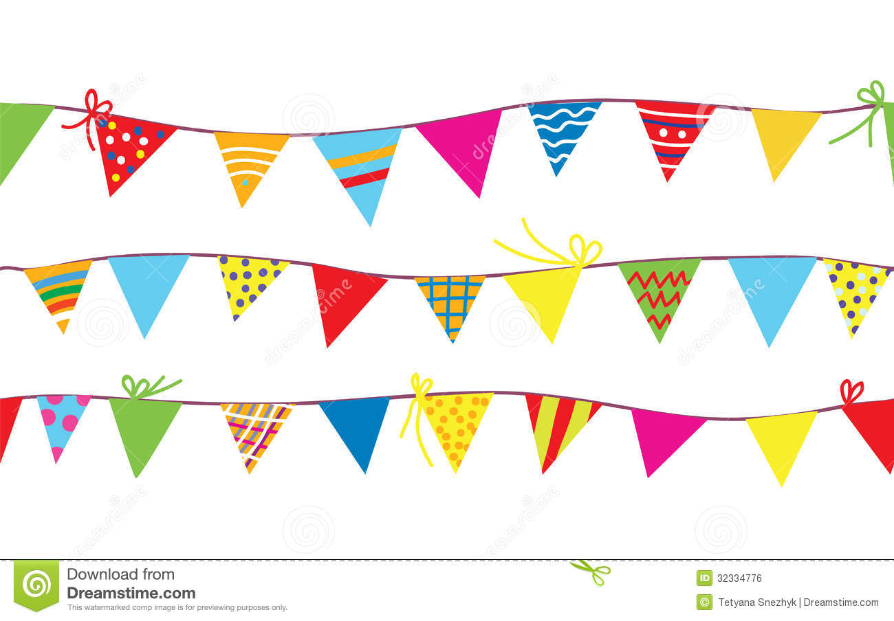 Seamless Pattern With Bunting Flags Royalty Free Stock Image - Image ...