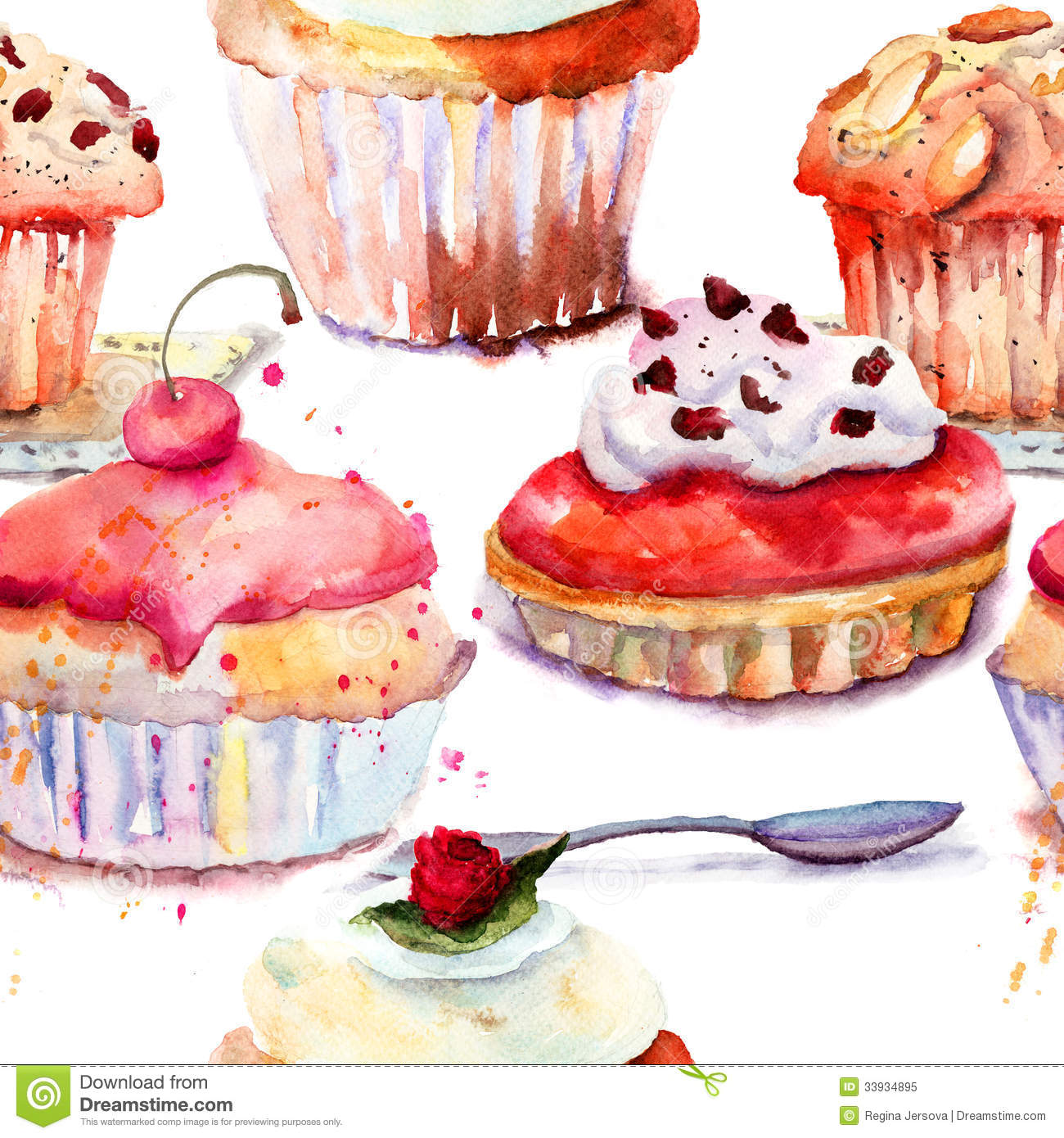 Seamless Pattern With Cake Stock Illustration