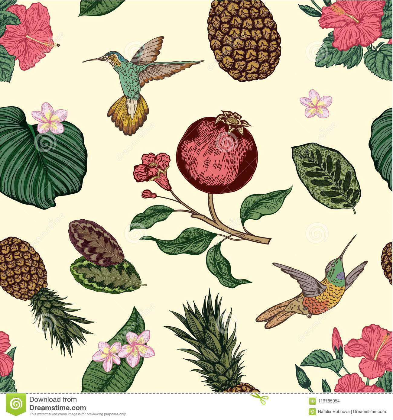 Seamless Pattern With Tropical Flowers  Hand Drawing Vector