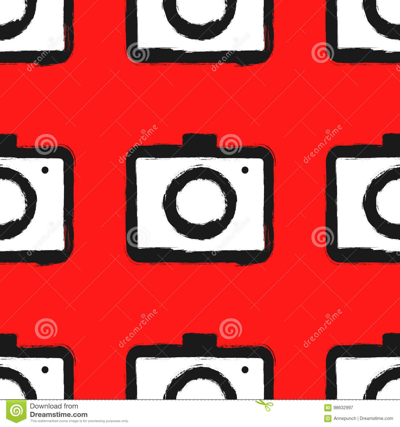 Seamless pattern with cameras. Painted by hand with rough brush.