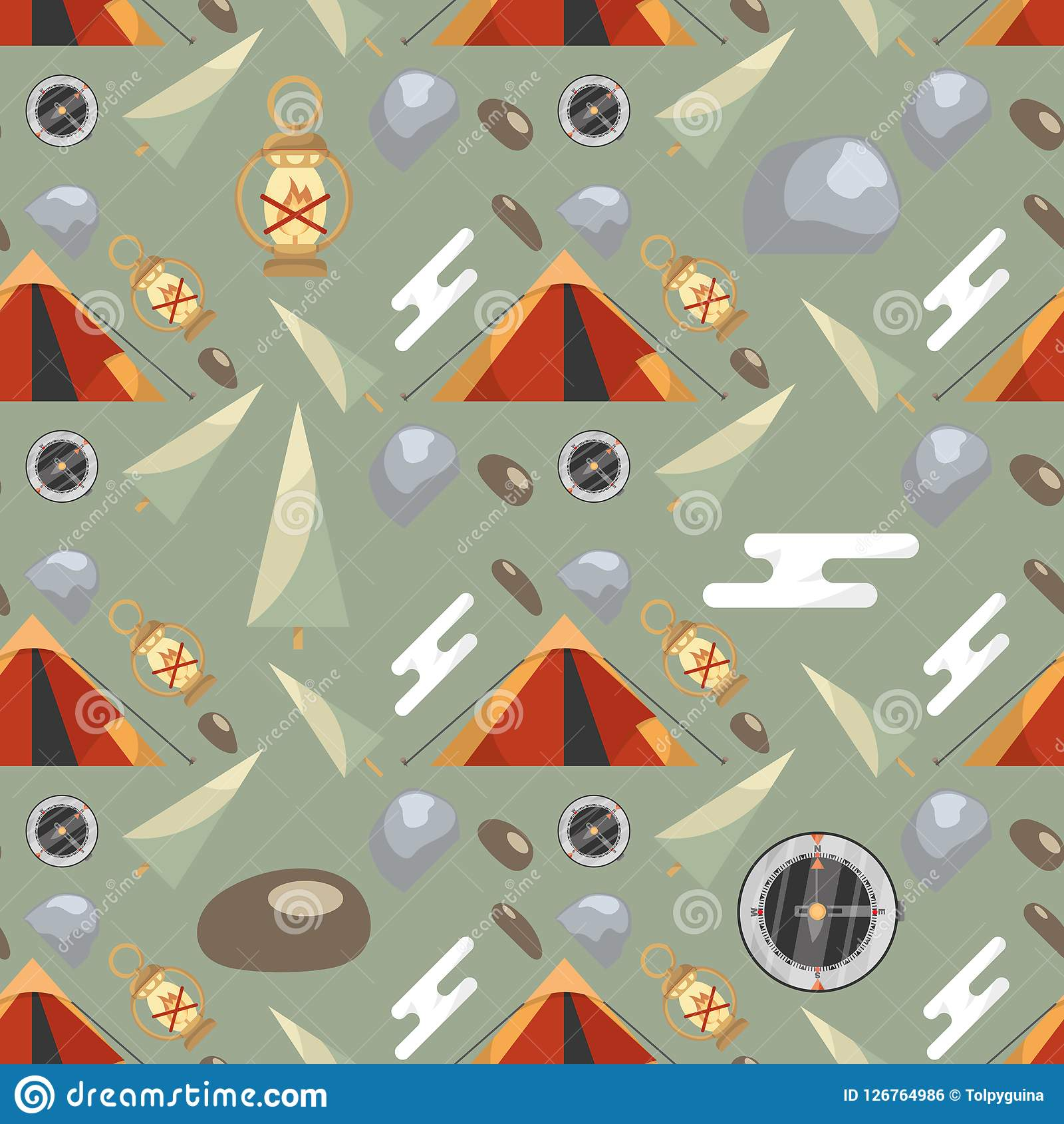 Seamless pattern with camping equipment and nature elements on a green background. Seamless pattern with camping equipment and nature elements on a green Stock Illustration