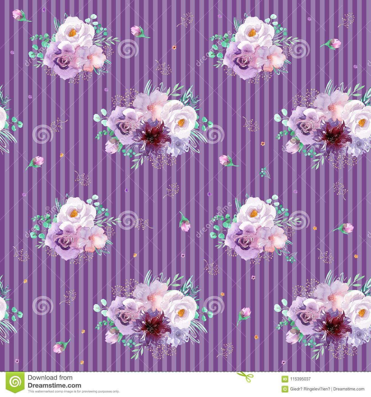 Watercolor Seamless Floral Background In Purple And Mint Green
