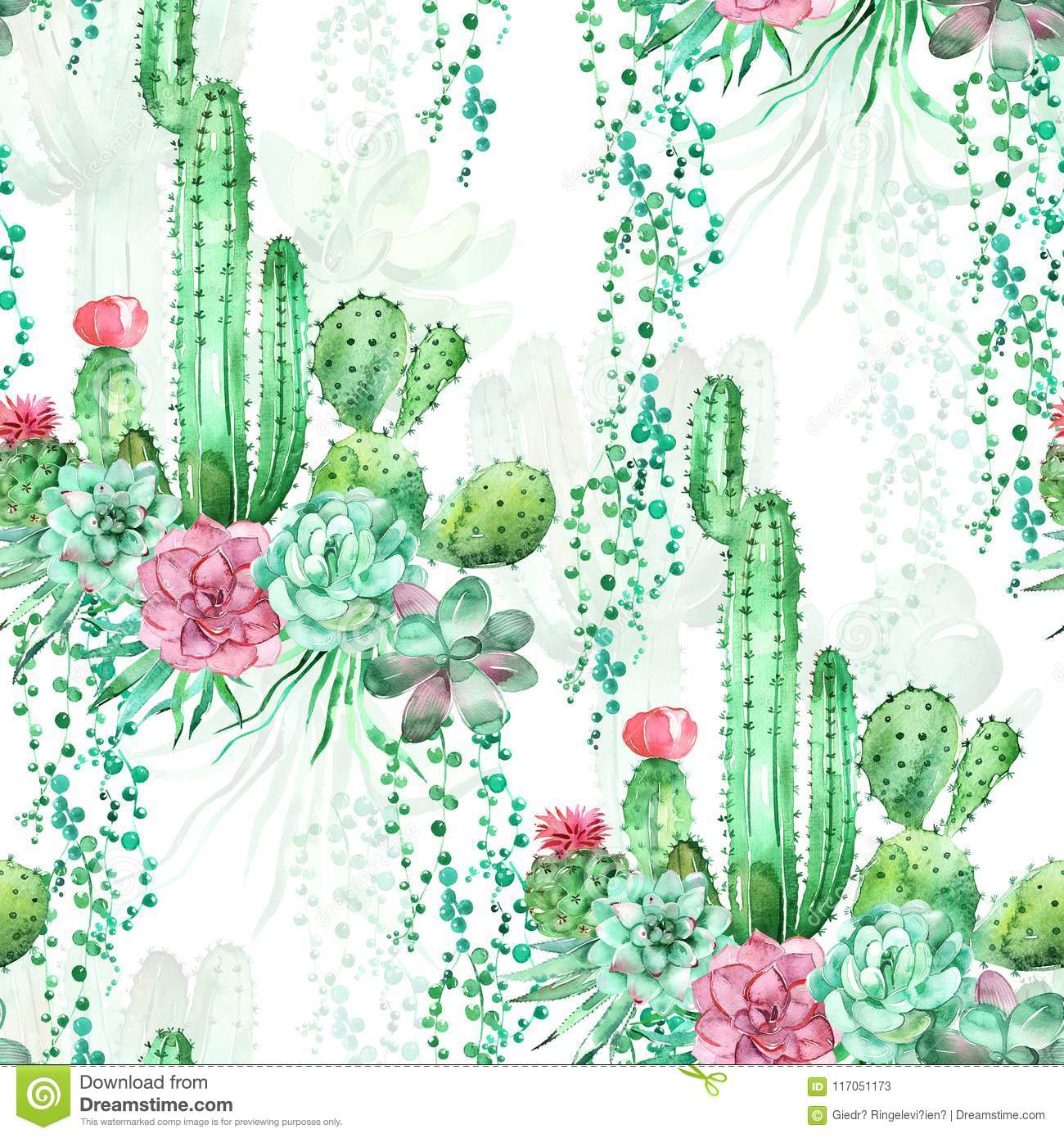 Watercolor Seamless Pattern Background With Succulents And Cactus Stock Illustration Illustration Of Desert Decoration 117051173
