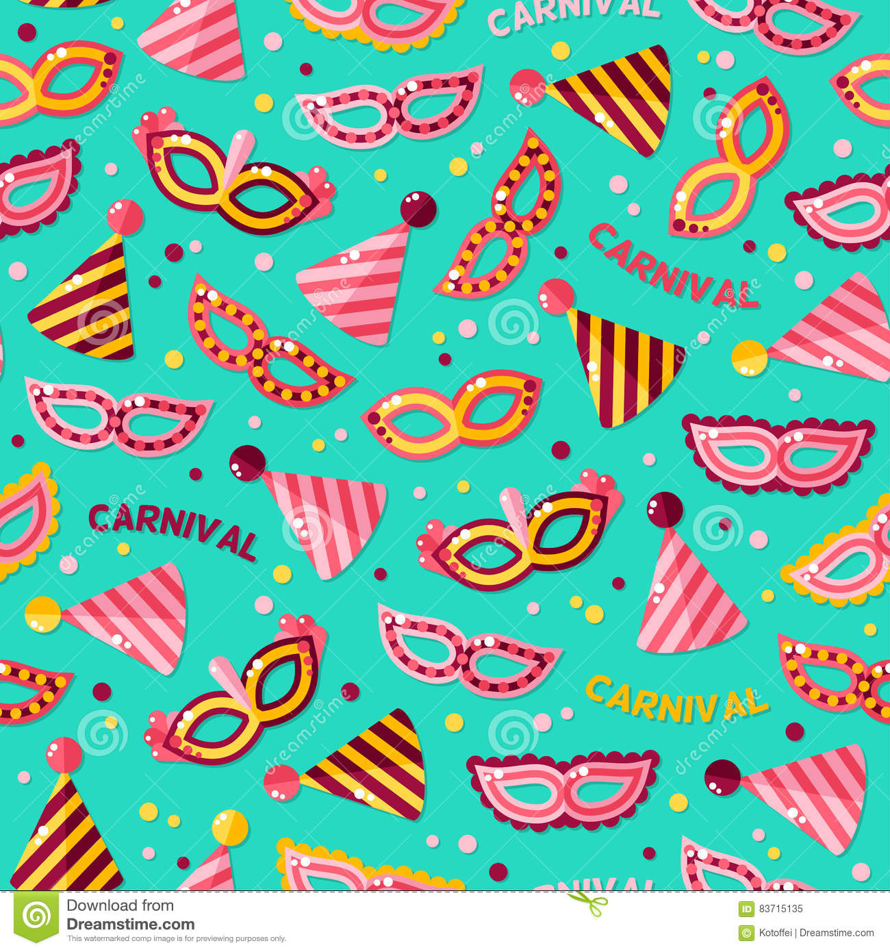 Seamless Pattern With Carnival Masks And Text Stock Vector