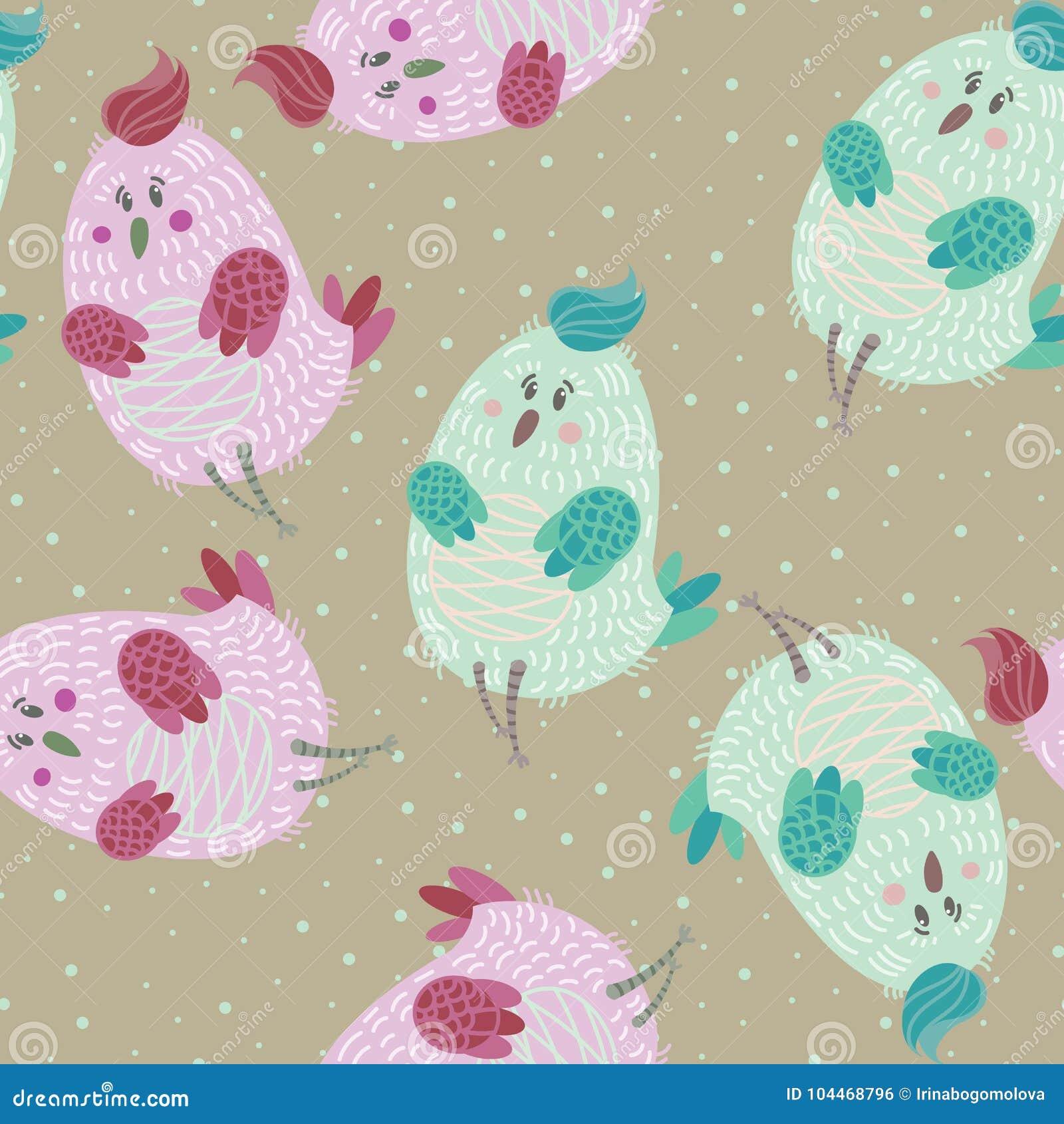 Seamless Pattern With Cartoon Cute Blue Bird Stock Vector