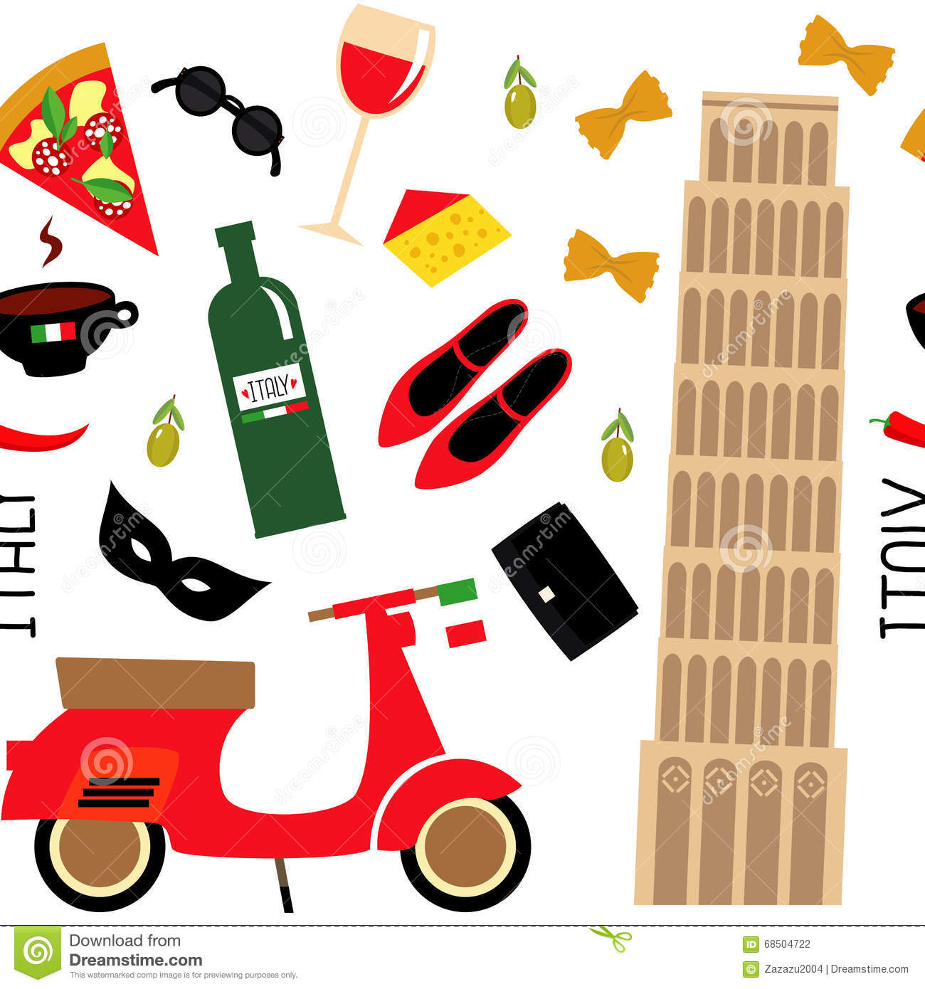 Seamless Pattern With Cartoon Italian Symbols Pisa Tower Retro