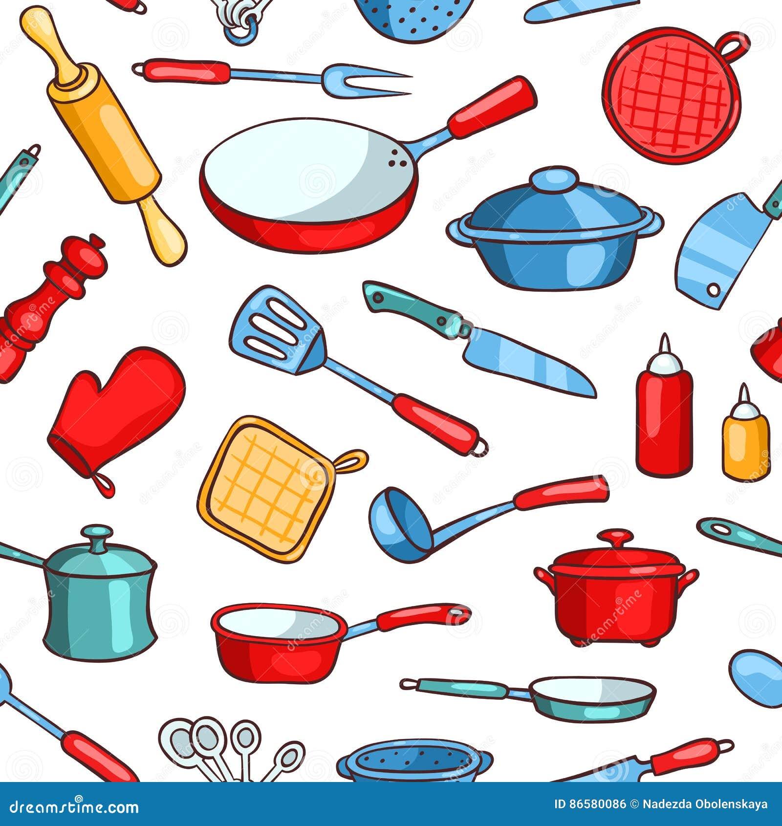 Seamless Pattern Cartoon Kitchen Ware Stock Vector Illustration Of Chef Fork 86580086