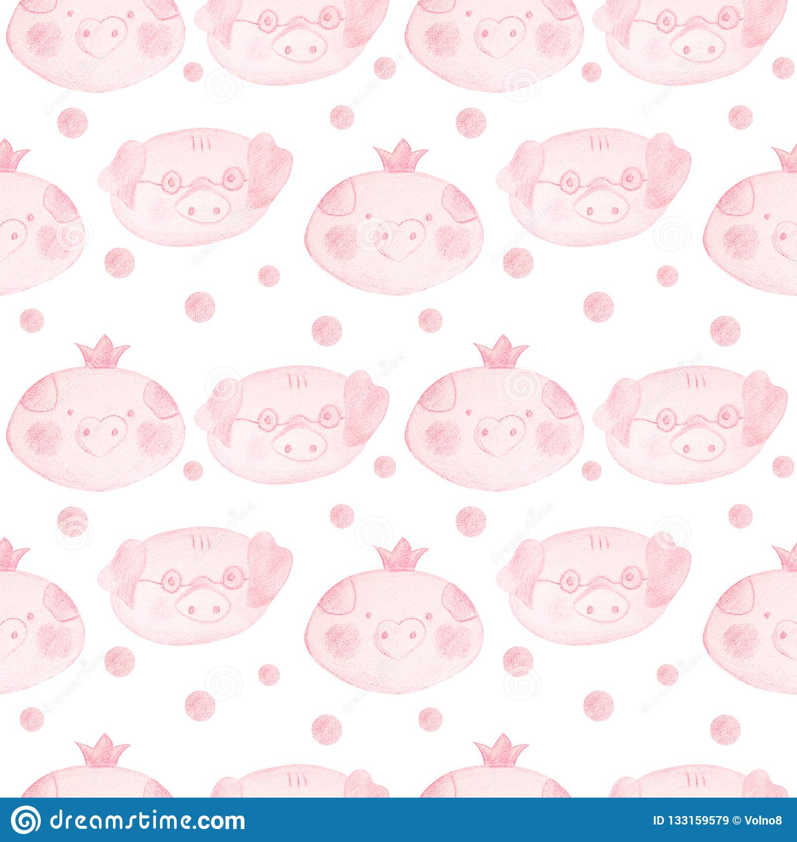 Seamless pattern with cartoon pigs. 2019 Chinese New Year