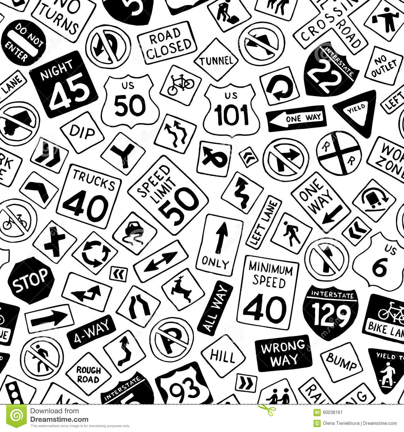 Traffic Guide Signs In The United States Cartoon Vector