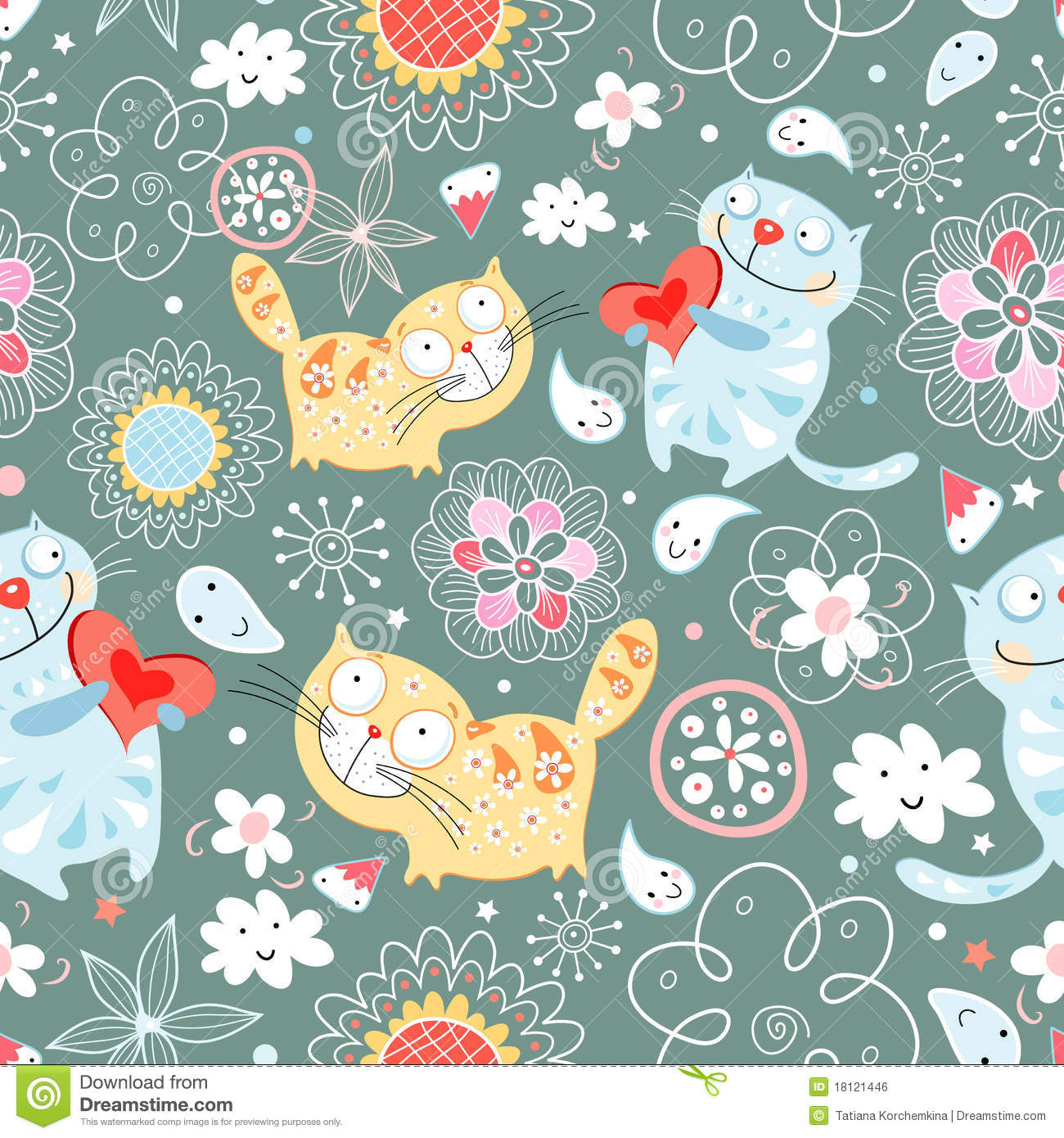 seamless pattern of cat lovers royalty free stock image