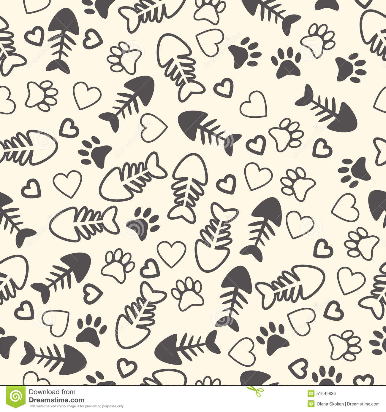 Seamless Pattern With Cat Paw Prints, Fish Bone, And Hearts. End Stock ... Dog Bone Pattern Background