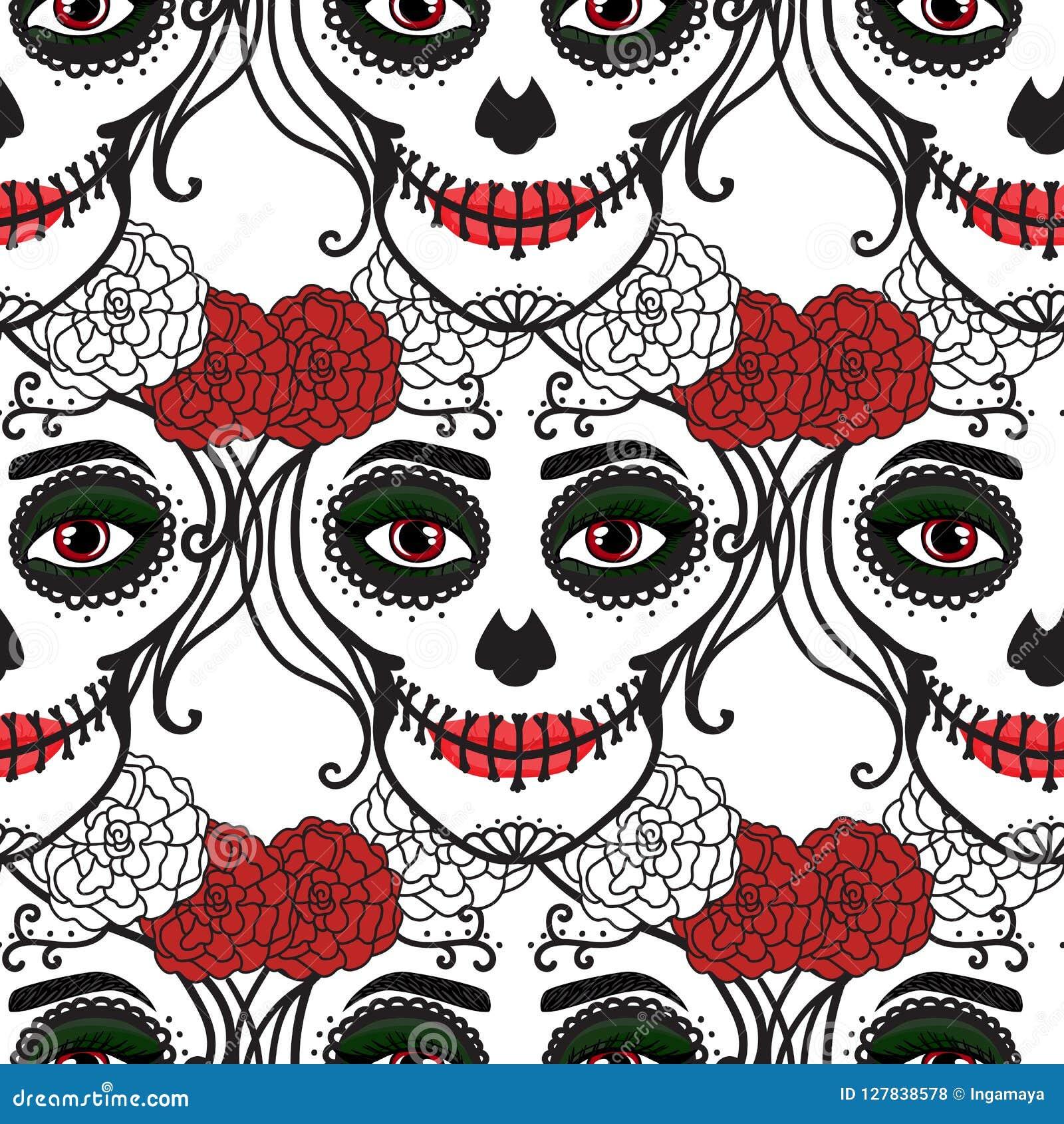 Seamless Pattern Catrina Woman With Make Up Of Sugar Skull Dia De