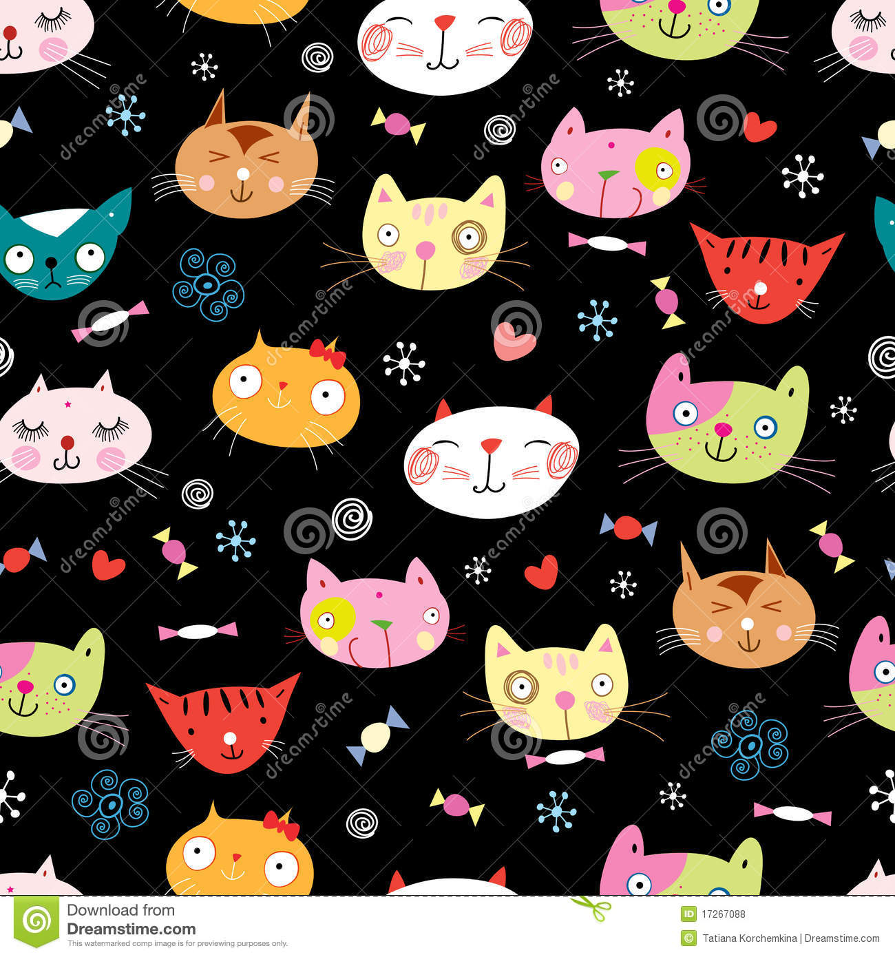 Seamless pattern of the cats
