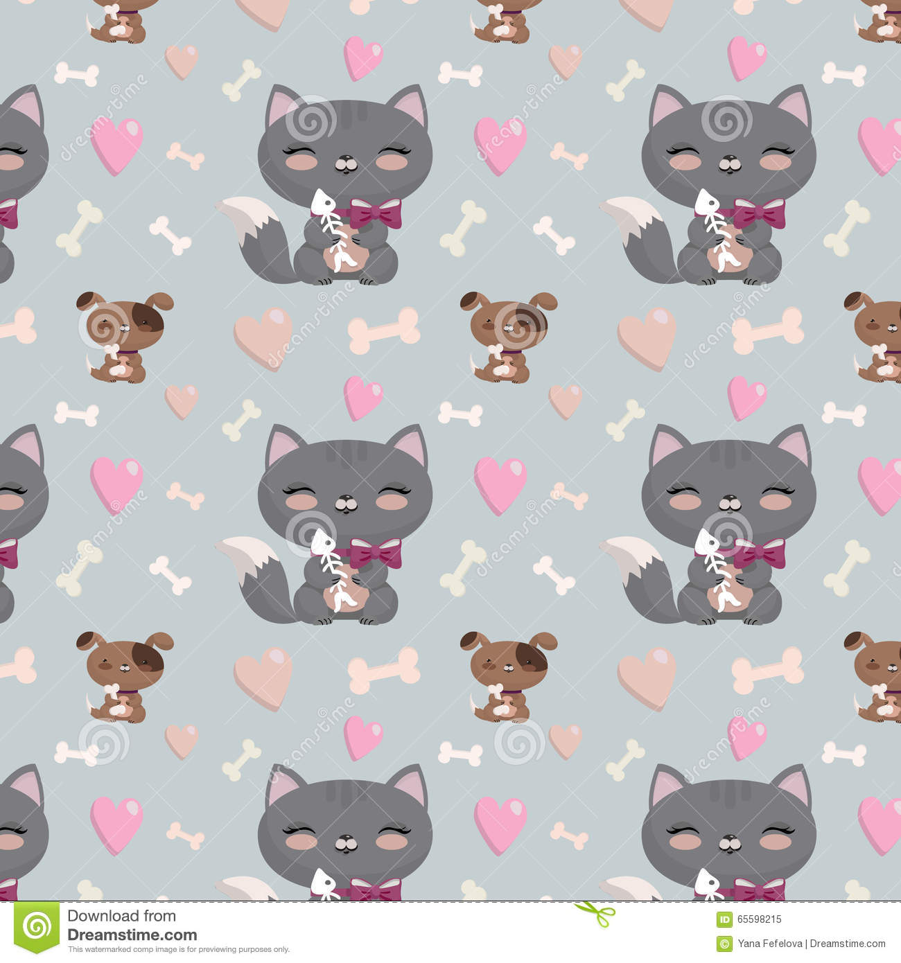Seamless pattern with cats and dogs