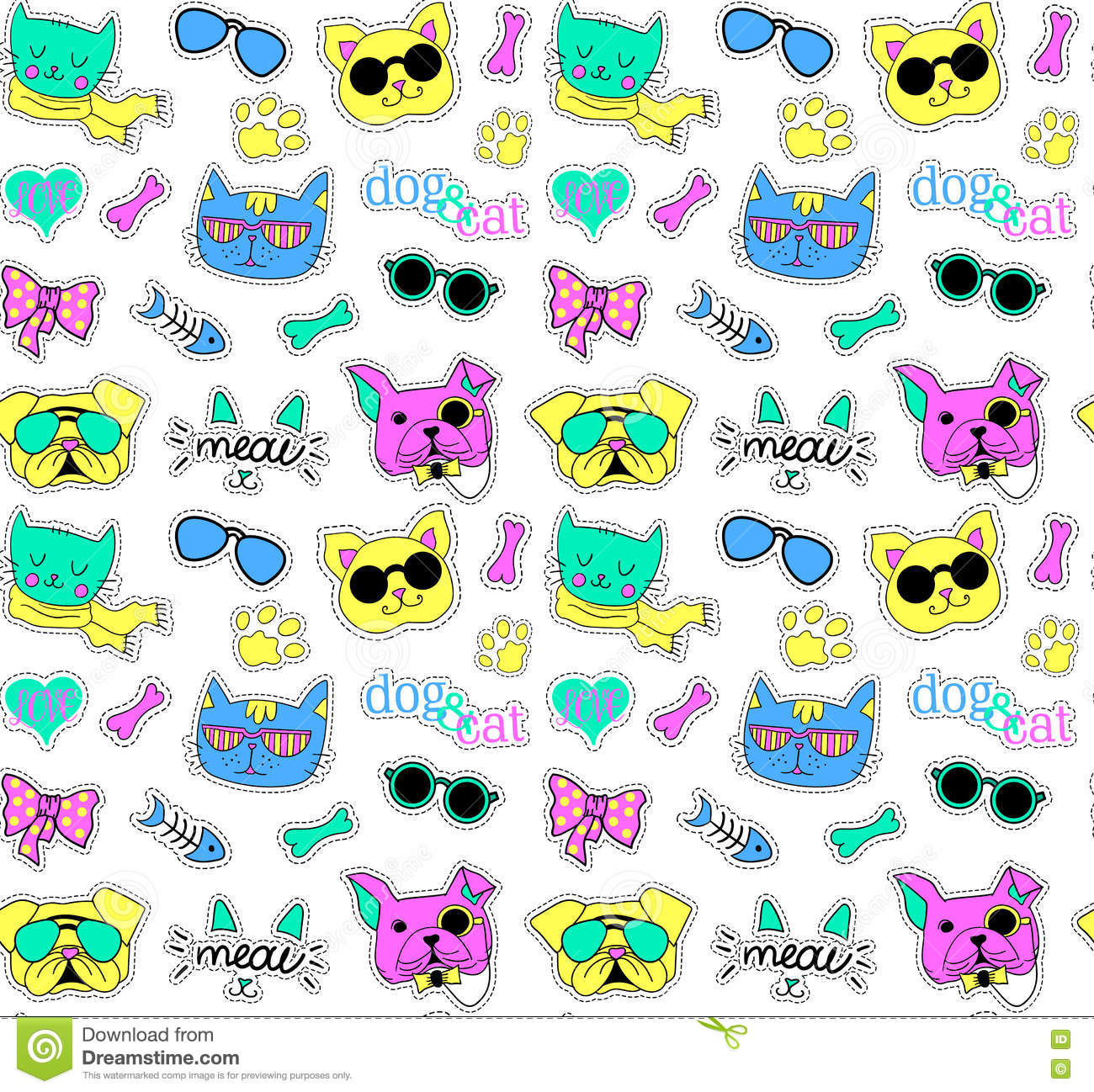 Seamless Pattern With Cats And Dogs Pop Art Funy Beautiful Cute Vector Stickers Pins Patches Handwritten Notes