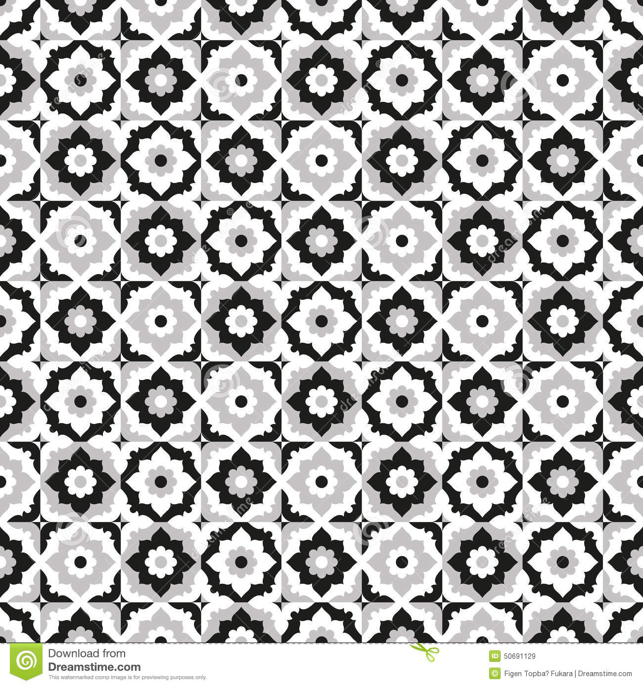 Stock Illustration Seamless Pattern Ceramic Black White Tile Design Floral Ornate Endless Texture Vector Daisy Background Image50691129 on hexagon floor tile