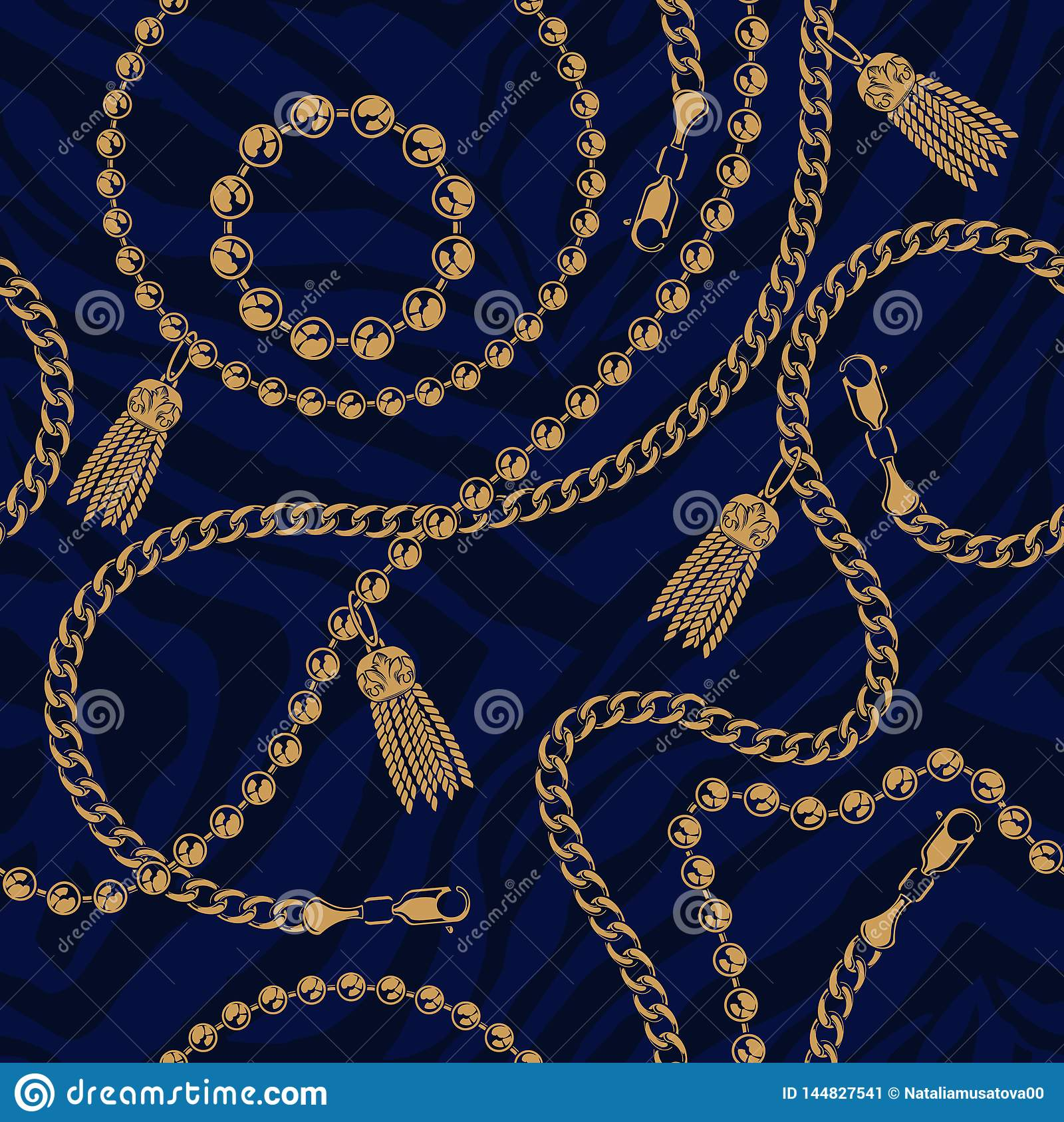 Seamless pattern of chains on the dark background