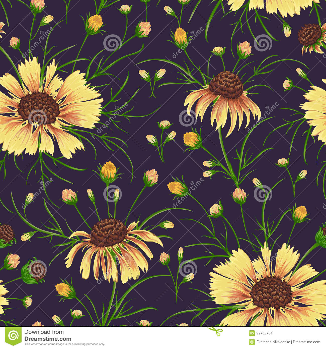 Seamless Pattern With Chamomile Flowers Rustic Floral Background