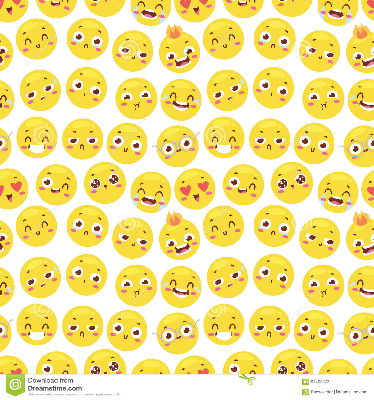 Seamless Pattern With Cheerful Happy Smile Emojji Faces
