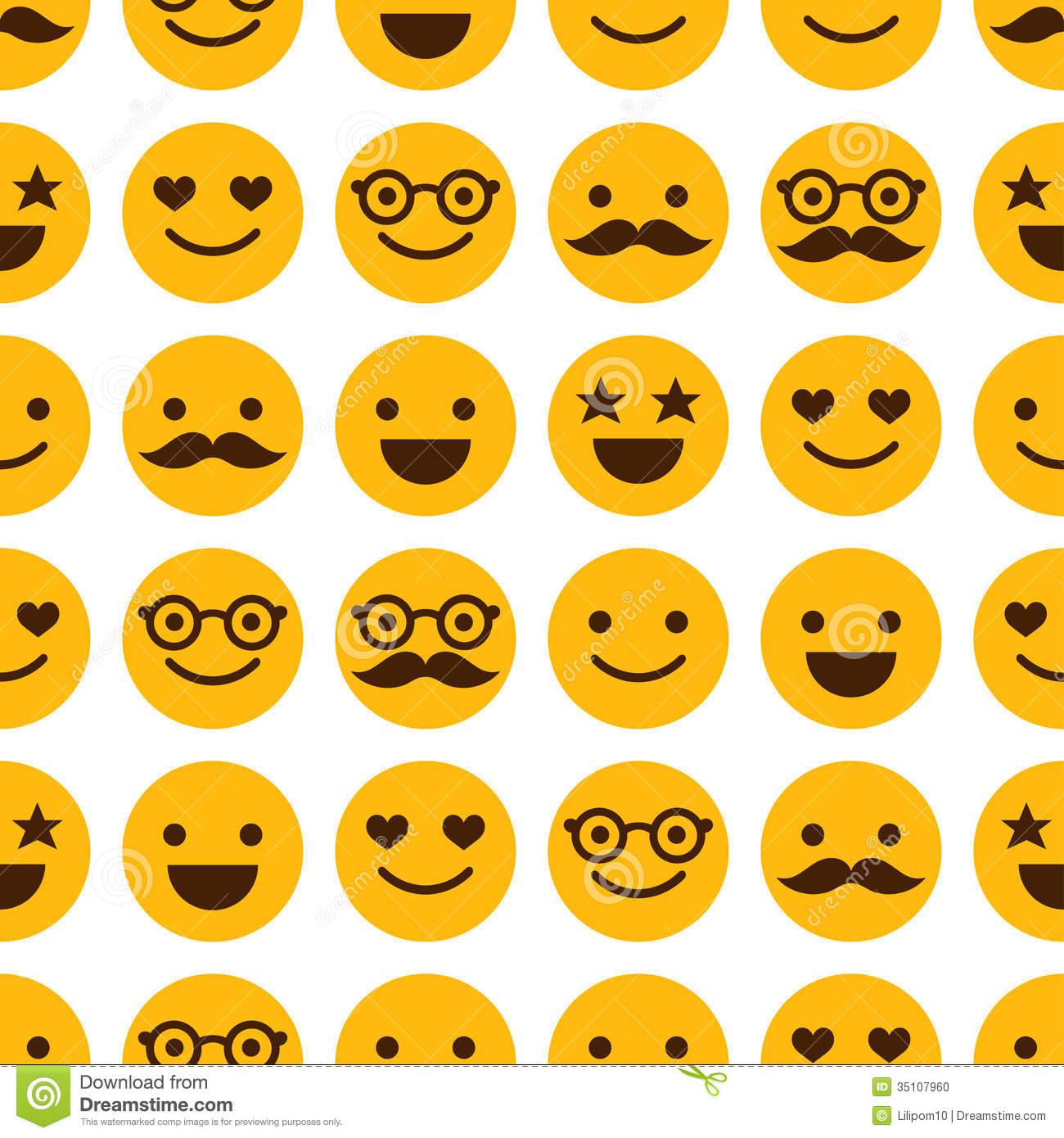 Seamless Pattern With Cheerful And Happy Smileys Stock